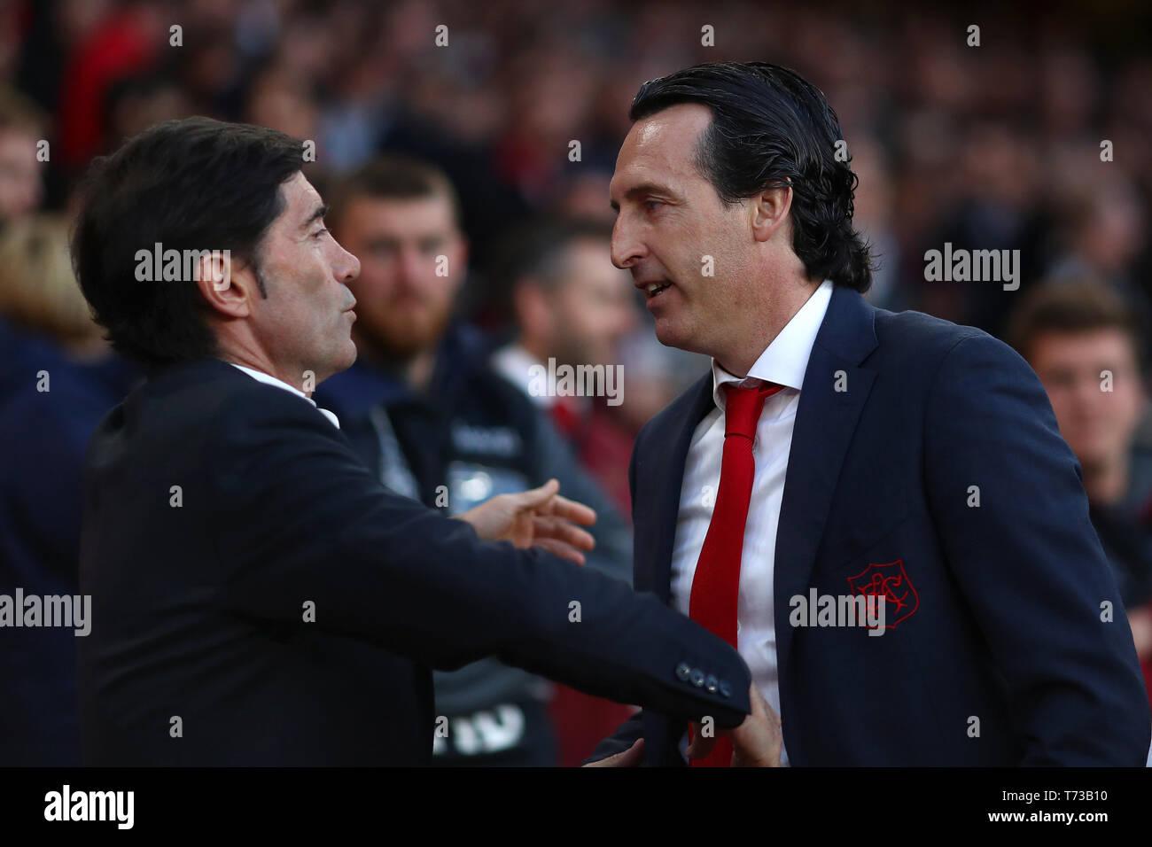 Manager of Arsenal, Unai Emery and Manager of Valencia, Marcelino - Arsenal v Valencia, UEFA Europa League Semi Final - 1st Leg, Emirates Stadium, Lon - Stock Image