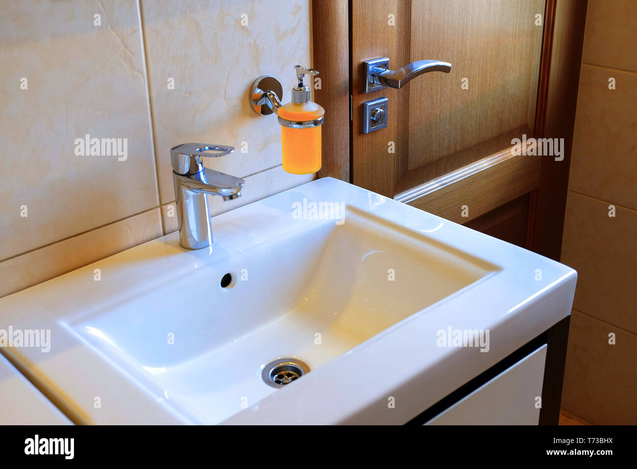 Modern Bathroom Sink In Restaurant High Resolution Stock Photography And Images Alamy