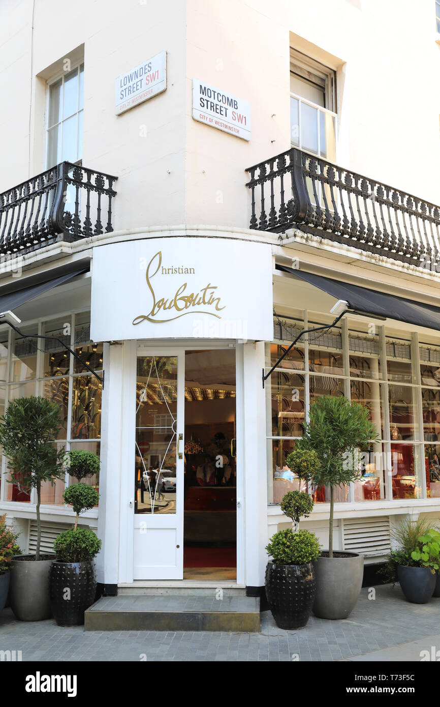 e00de0df86d38 Christian Louboutin French designer womens shoe shop, on Motcomb and  Lowndes Street in Belgravia,