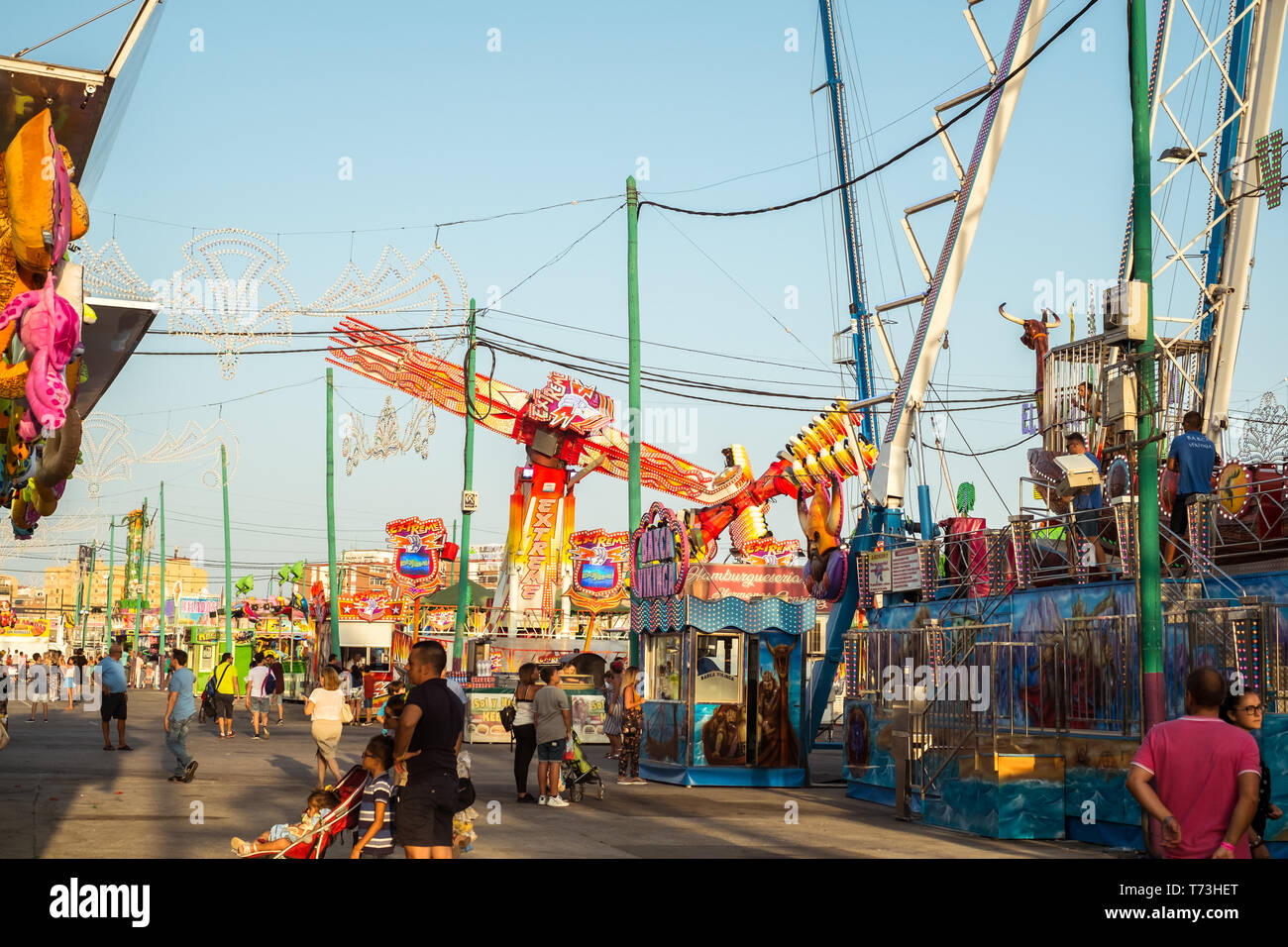 Malaga, Spain - August 11, 2018. Traditional Spanish Event. Feria de Malaga is an annual event that takes place in mid-August and is one of the larges - Stock Image