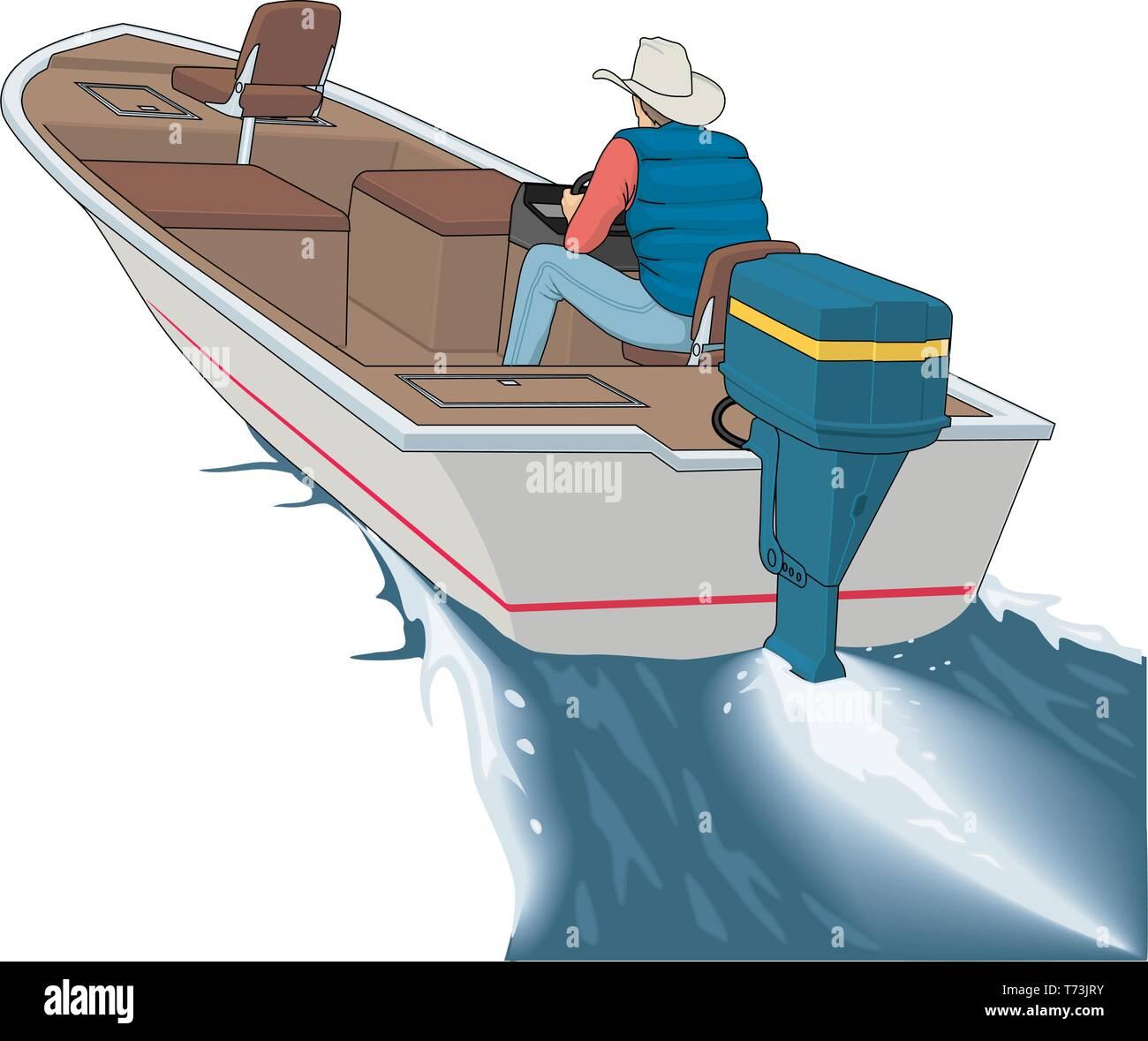 Bass Boat Vector Illustration Stock Vector