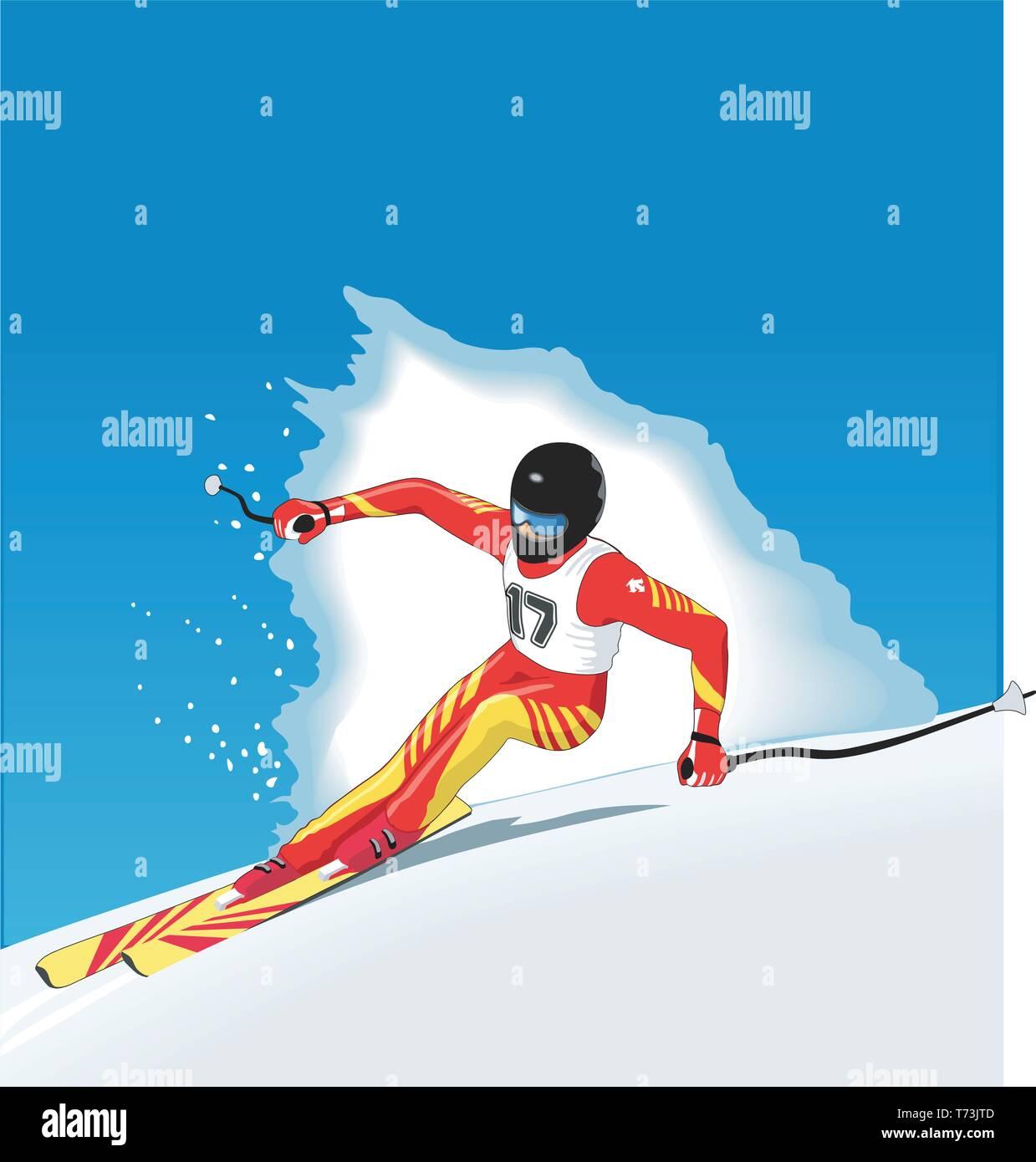 Downhill Racer Vector Illustration - Stock Image