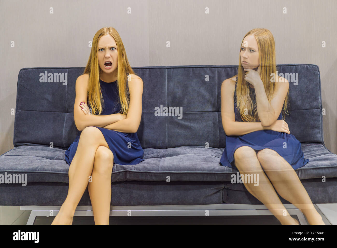 Woman experiencing angry emotions and evaluate their emotions from the side. Emotional Intelligence Concept - Stock Image
