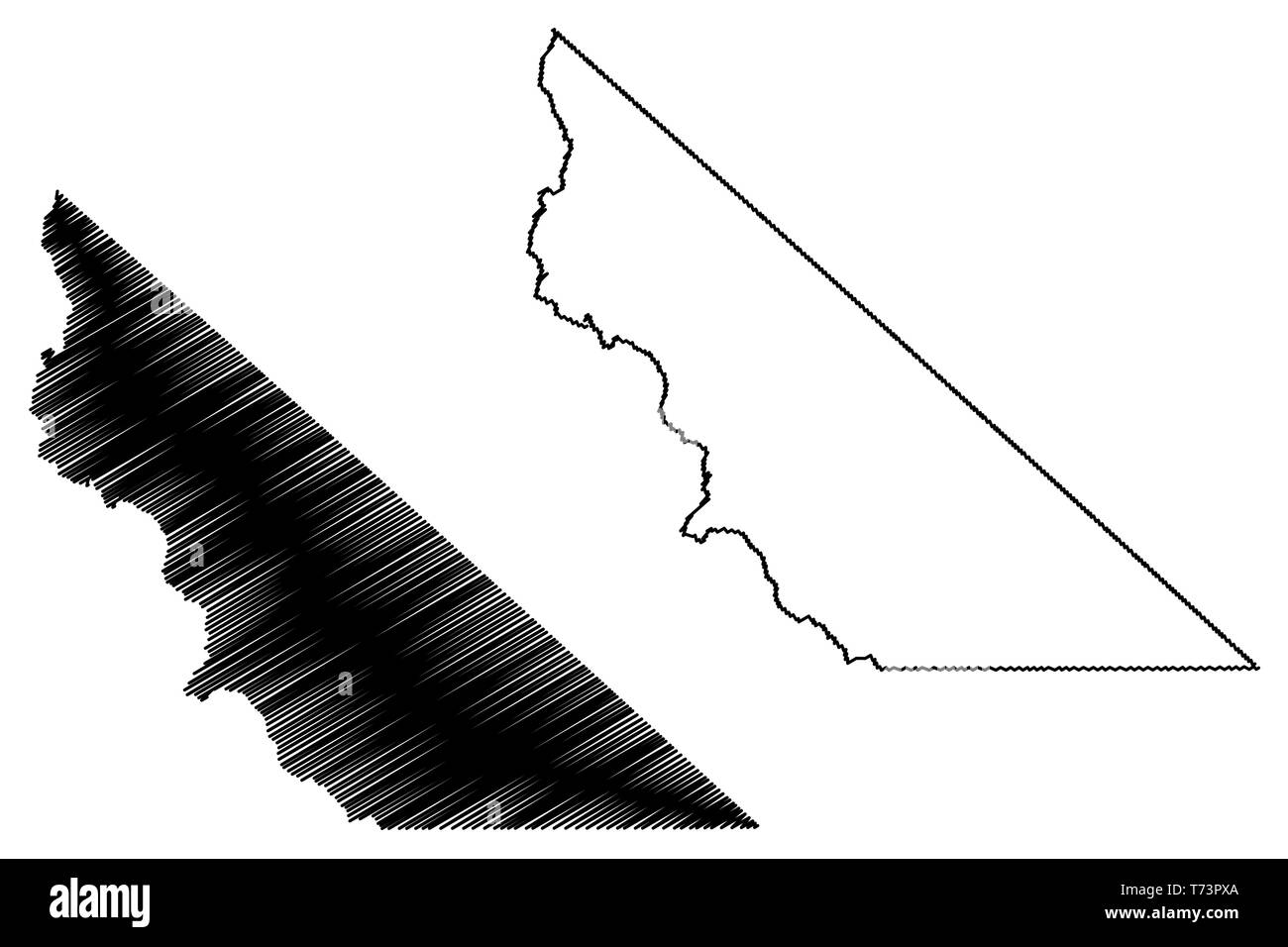 Mono County, California (Counties in California, United States of America,USA, U.S., US) map vector illustration, scribble sketch Mono map Stock Vector