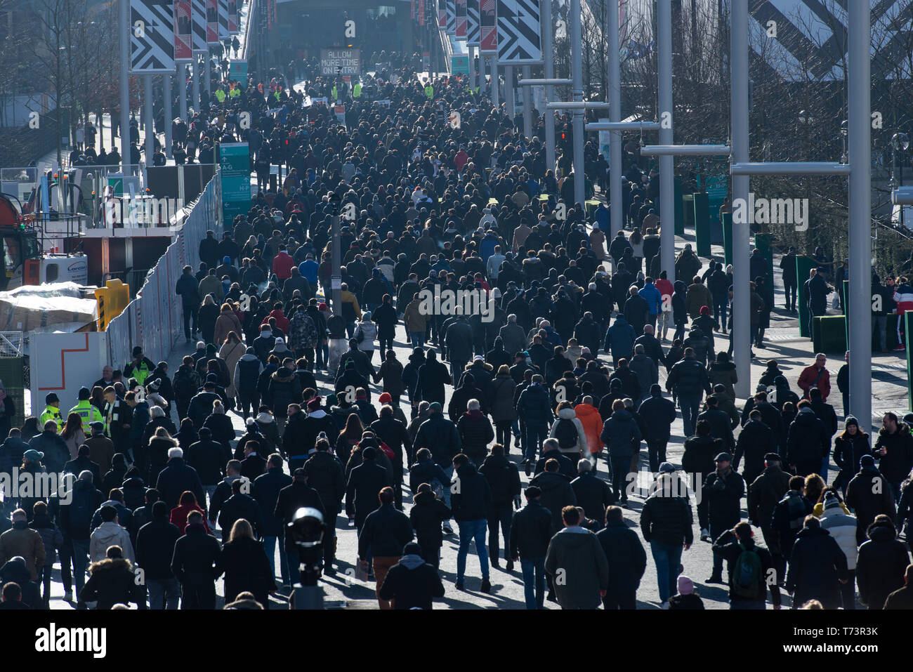 Thousand of football supporters at Wembley Park for a Premier League game between Tottenham Hotspur and Newcastle (final result: 1-0), February 2019. - Stock Image