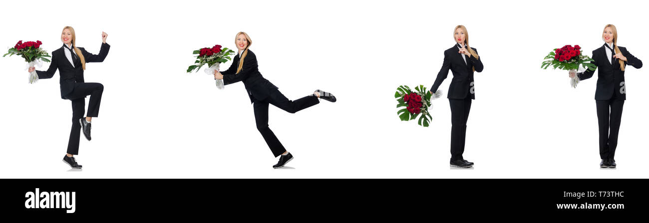 Businesswoman with bunch of flowers isolated on white - Stock Image