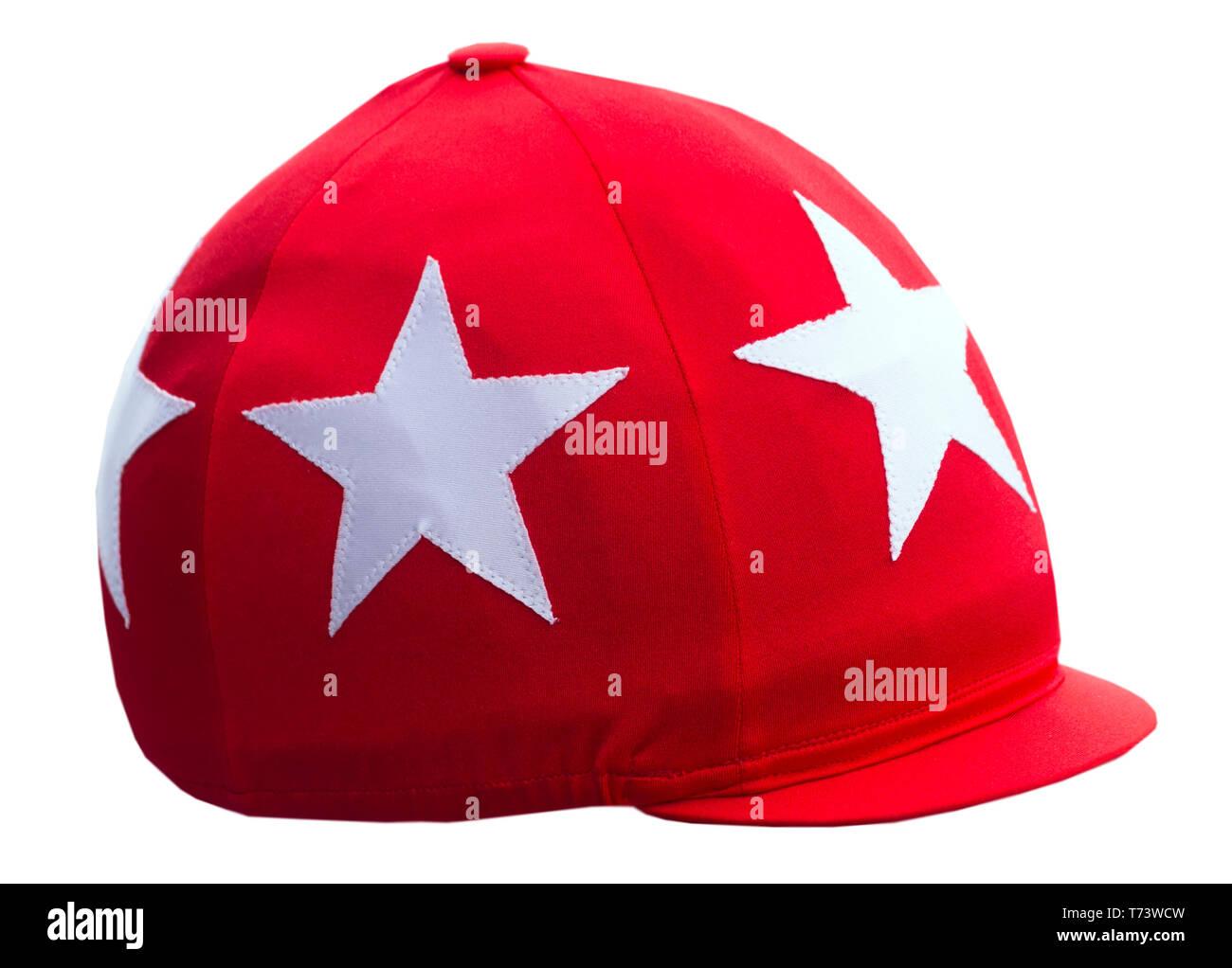 Jockey's headdress, red round cap with visor isolated on white background. - Stock Image