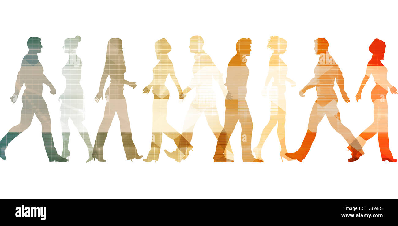 Business People Walking Silhouette Abstract Background Concept - Stock Image