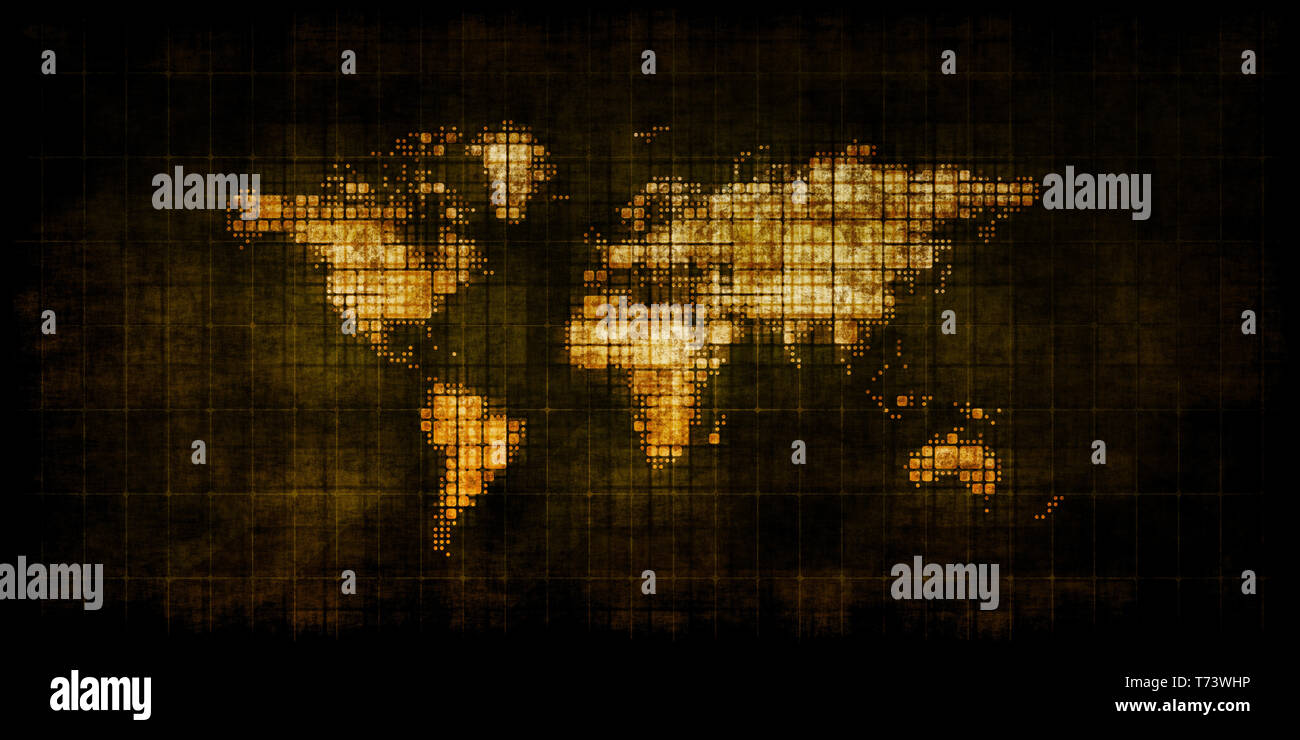 Political Instability on a Grunge World Map - Stock Image
