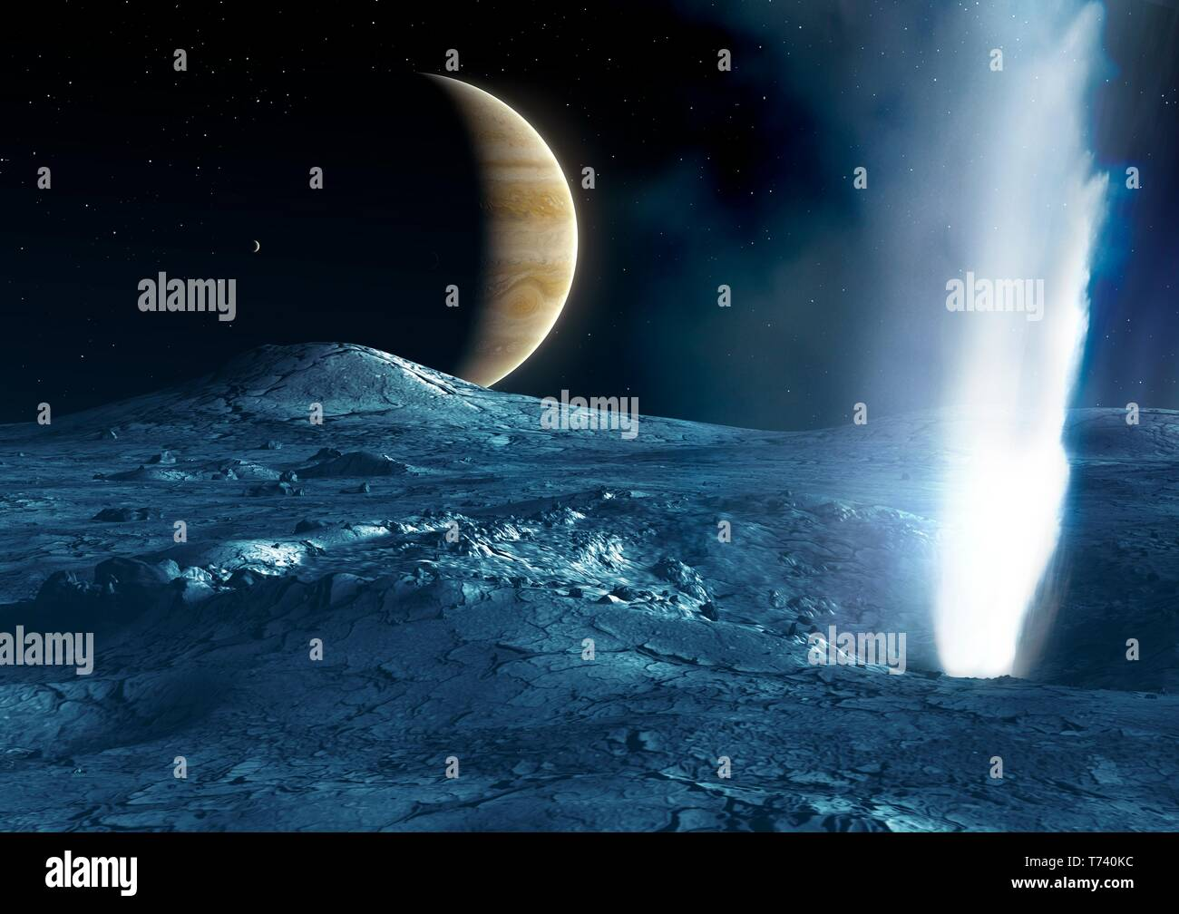 Geyser on Europa, illustration - Stock Image