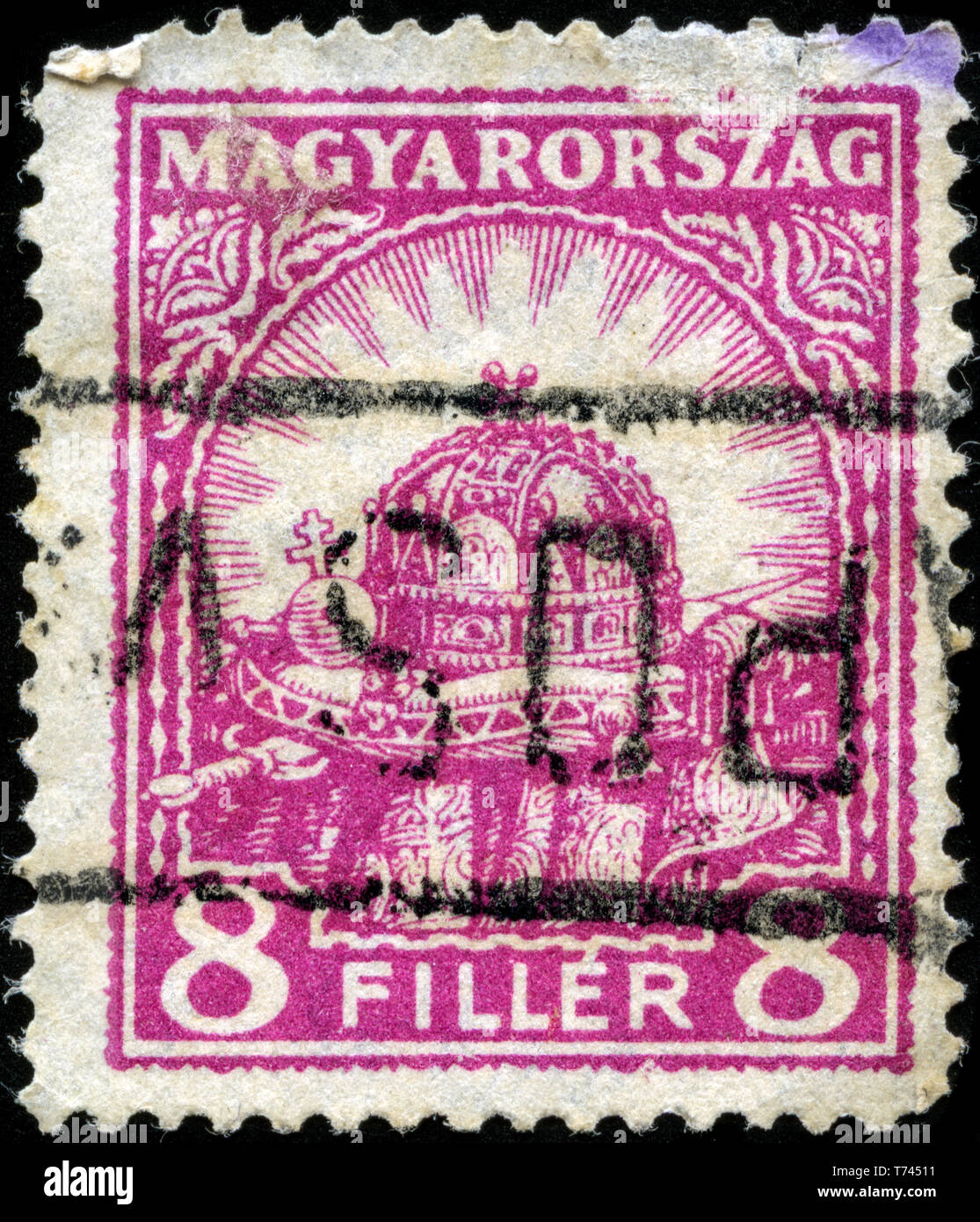 Postage stamp from Hungary in the Holy Crown of Hungary series issued in 1926 Stock Photo