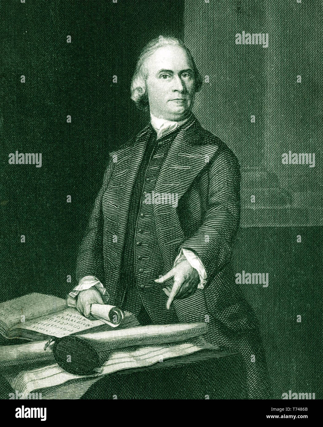 SAMUEL ADAMS (1722-1803) American statesman and Founding Father shown pointing at at the Massachusetts Charter in an engraving based on a portrait about 1772 - Stock Image