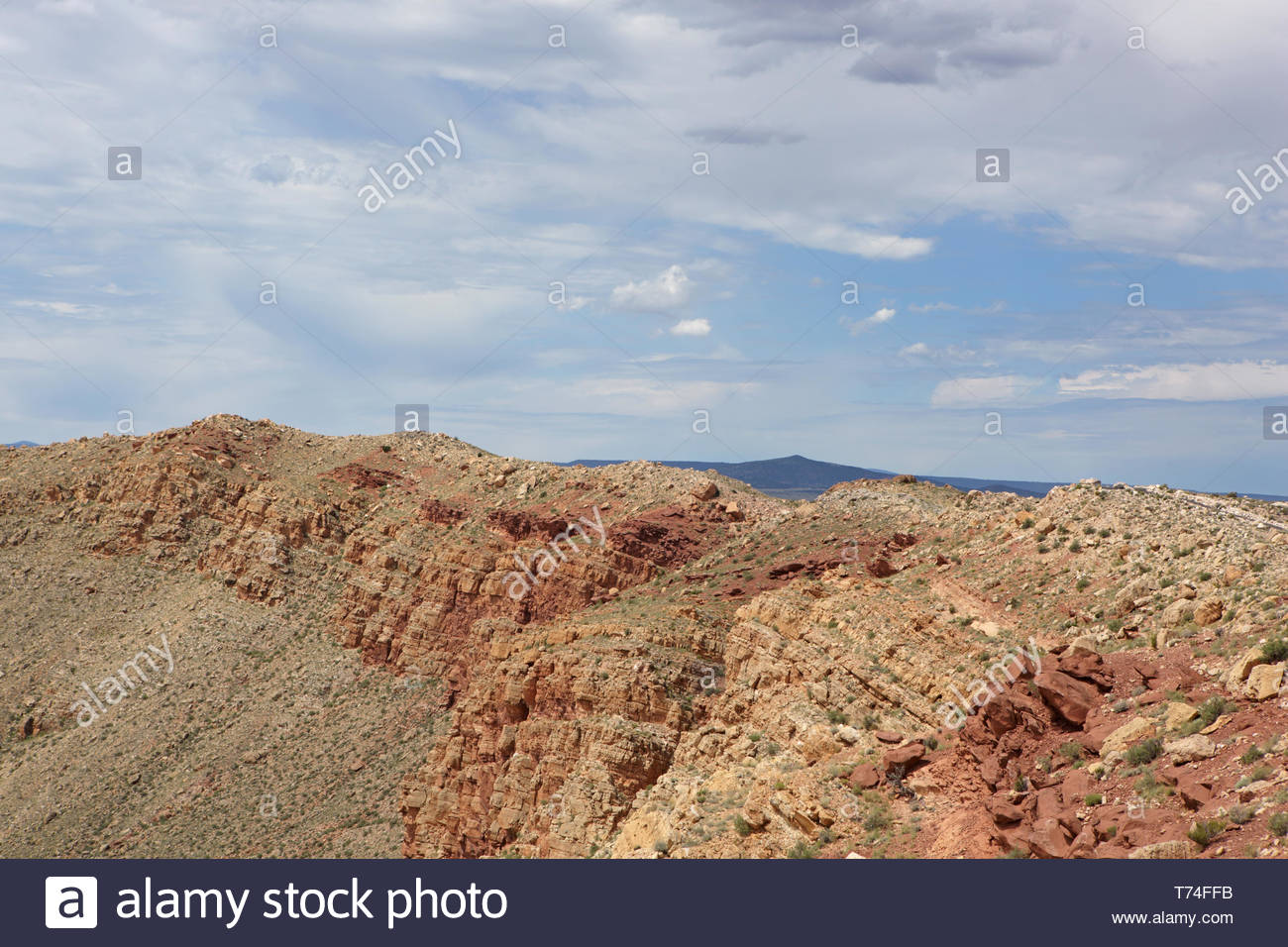 Detail of Meteor Crater rim near Winslow on the Colorado Plateau of Northern Arizona - detail of overturned rock strata - Stock Image
