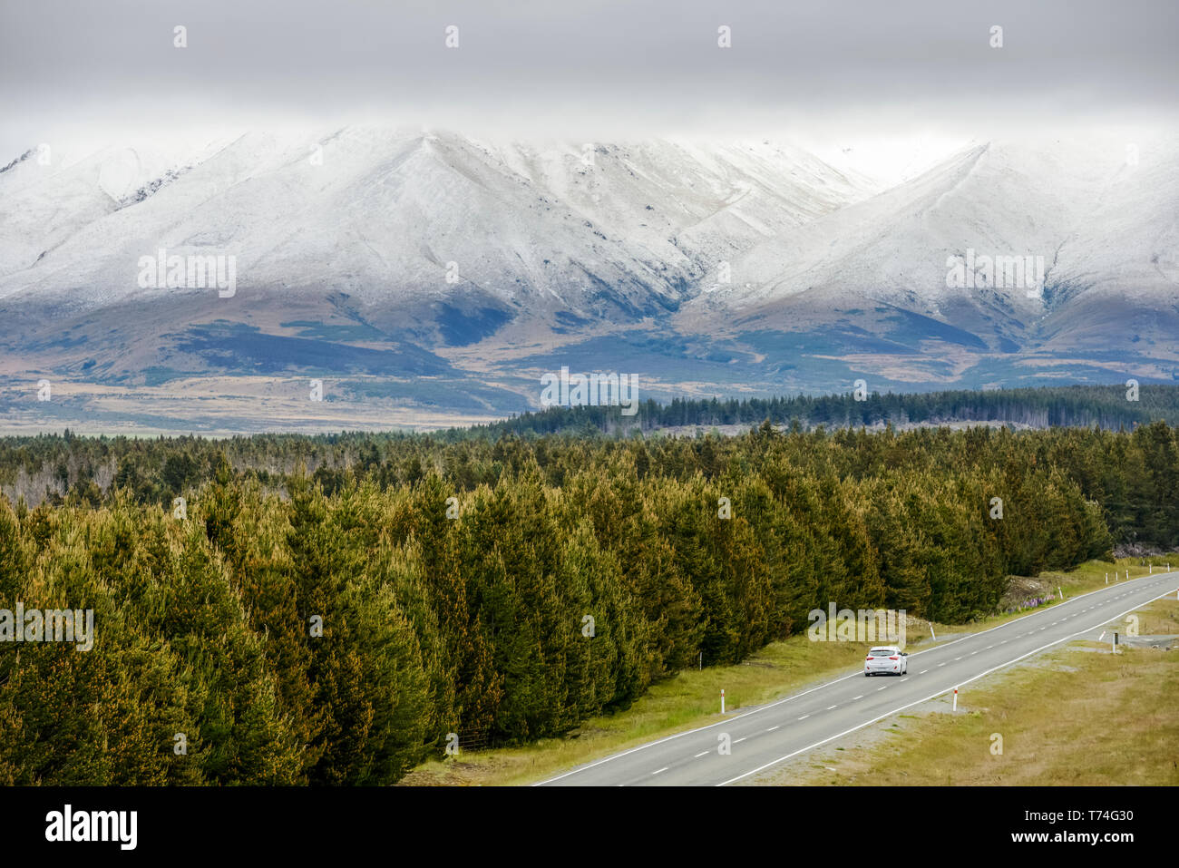 Mount Cook Road and Dobson Valley at spring; South Island, New Zealand Stock Photo