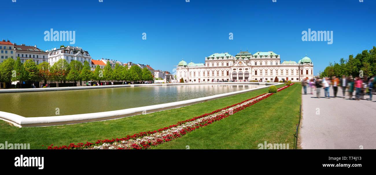 Beautiful pond ner Belvedere palace in Vienna, Austria - Stock Image