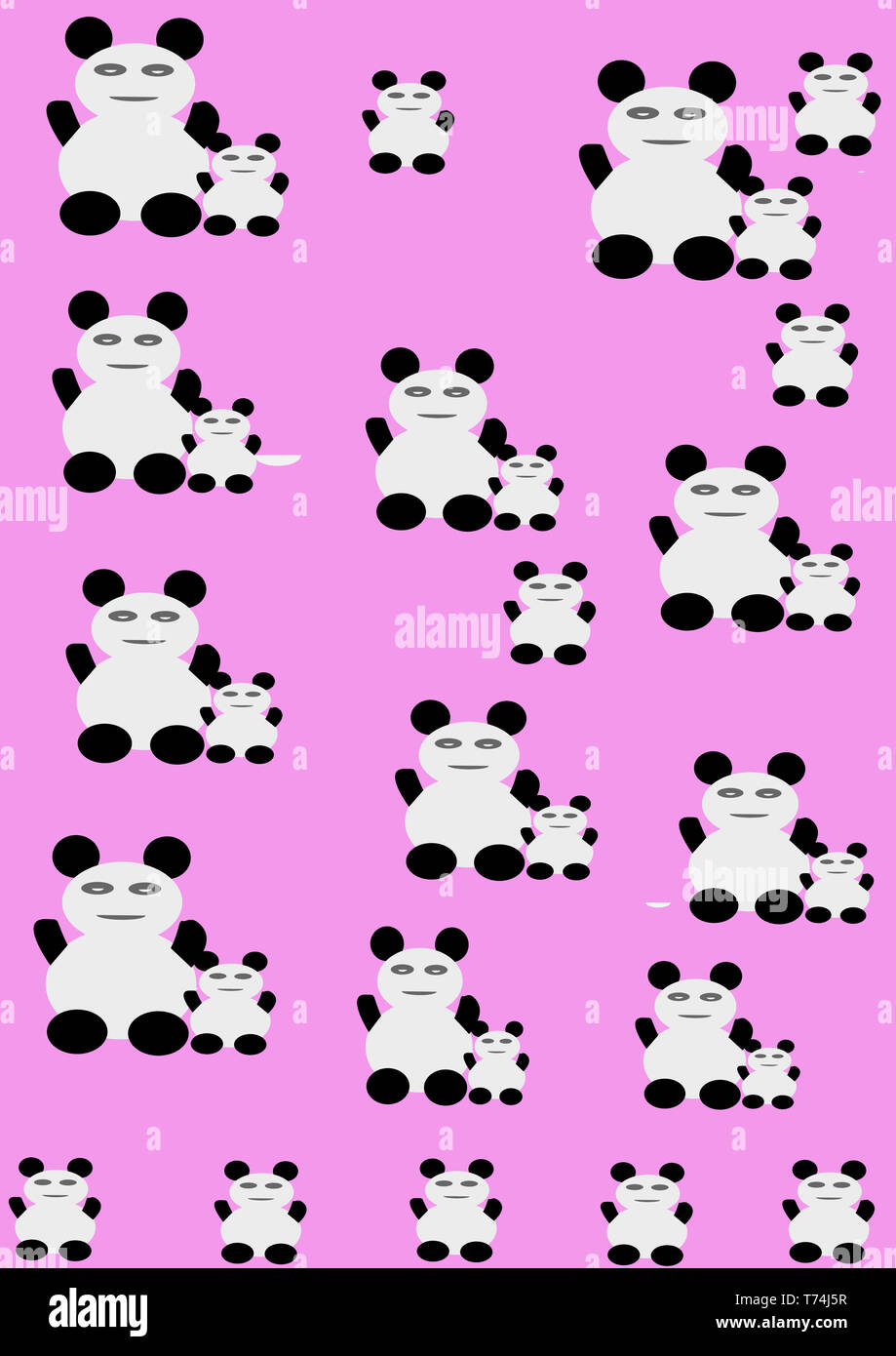 Amazing kids panda with baby panda pattern wallpaper for interior design, fabric, t-shirt etc. Kids wall paper.