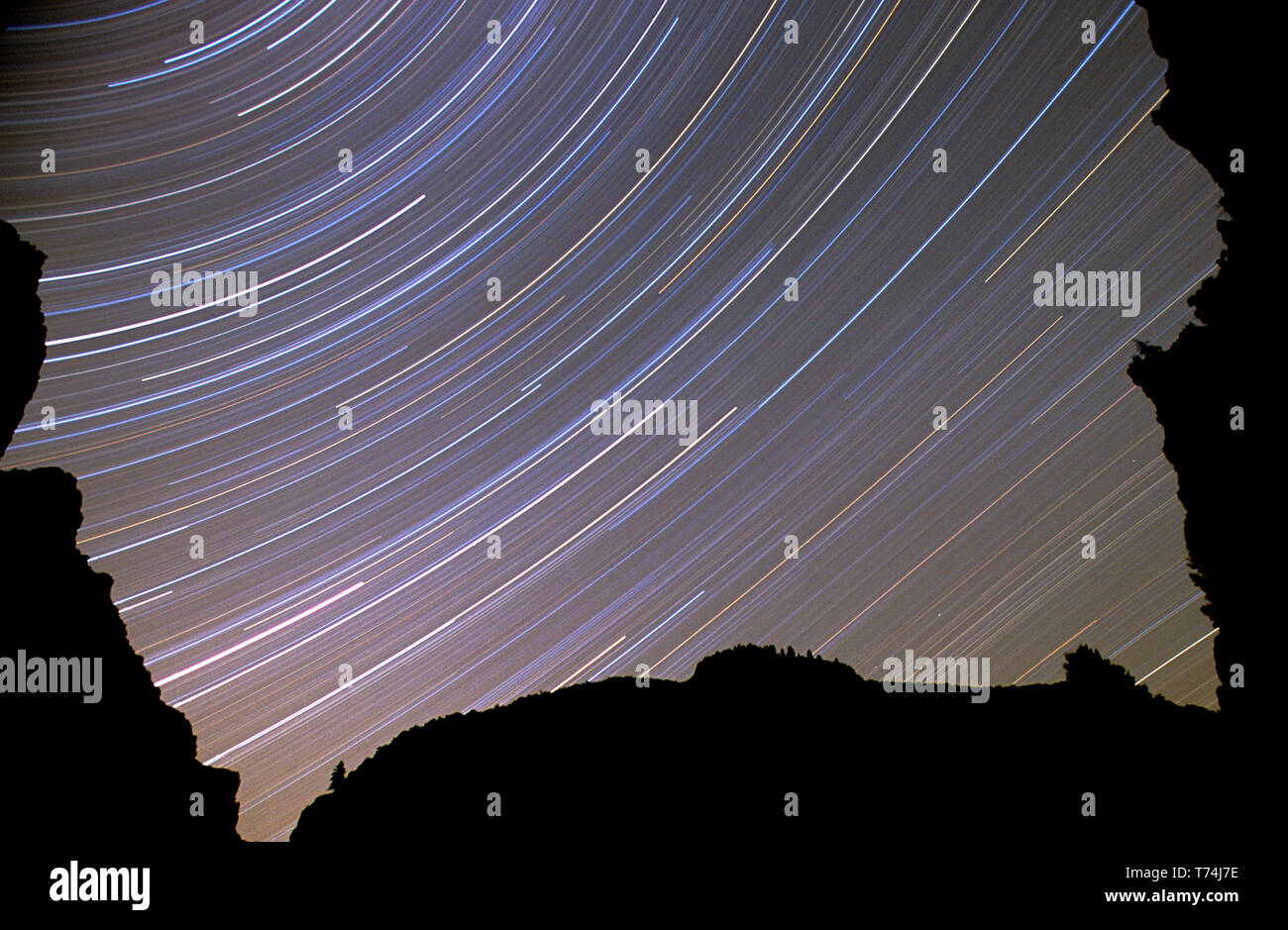 Star trails photographed above the Middle Fork of the Salmon River in the Frank Church - River of No Return Wilderness Idaho - Stock Image