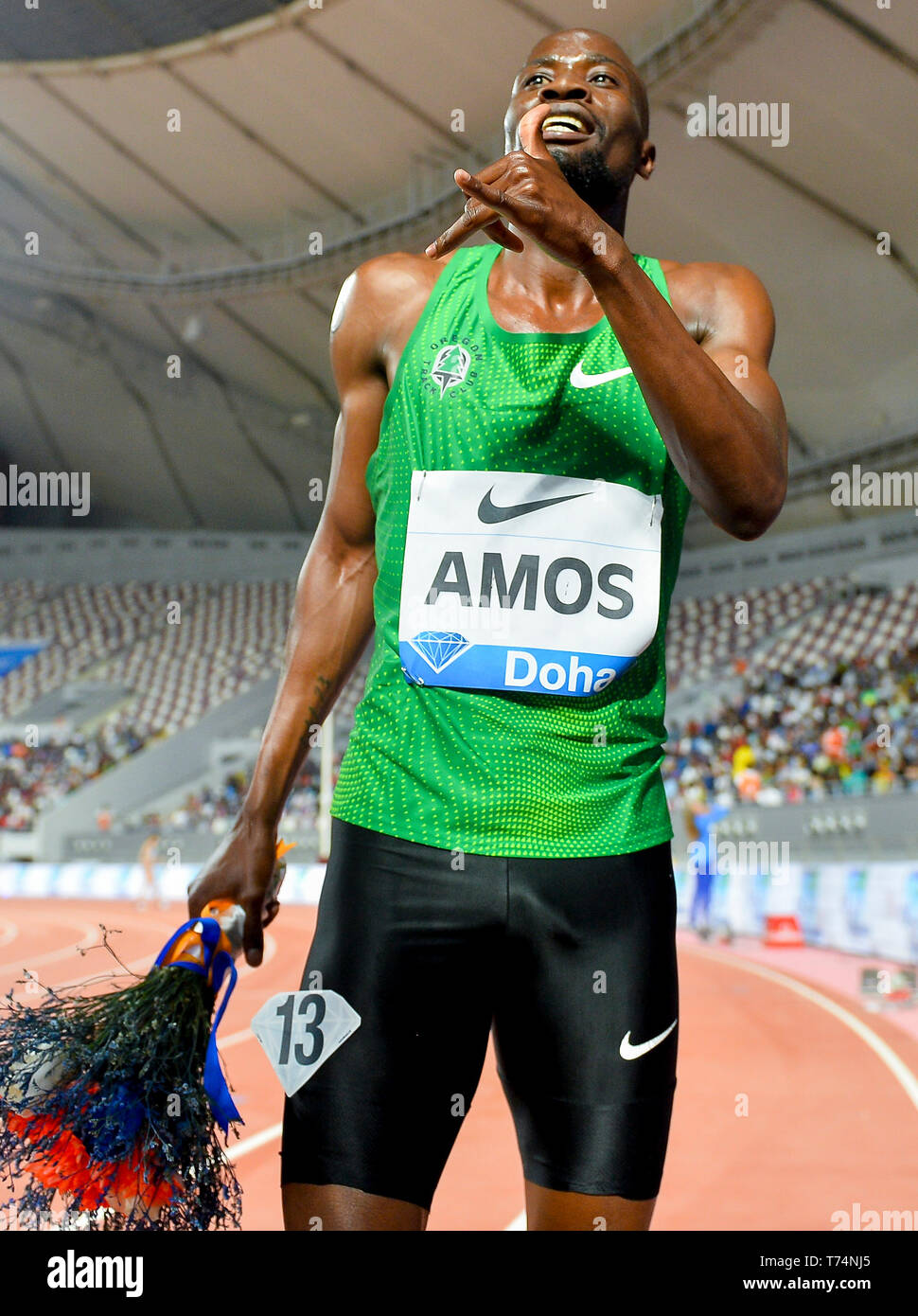 Doha, Qatar. 3rd May, 2019. Nijel Amos of Botswana celebrates after the men's 800m final at 2019 IAAF Diamond League at Khalifa International Stadium in Doha, Qatar, May 3, 2019. Nijel Amos won the gold medal with 1 minute and 44.29 seconds. Credit: Nikku/Xinhua/Alamy Live News Stock Photo