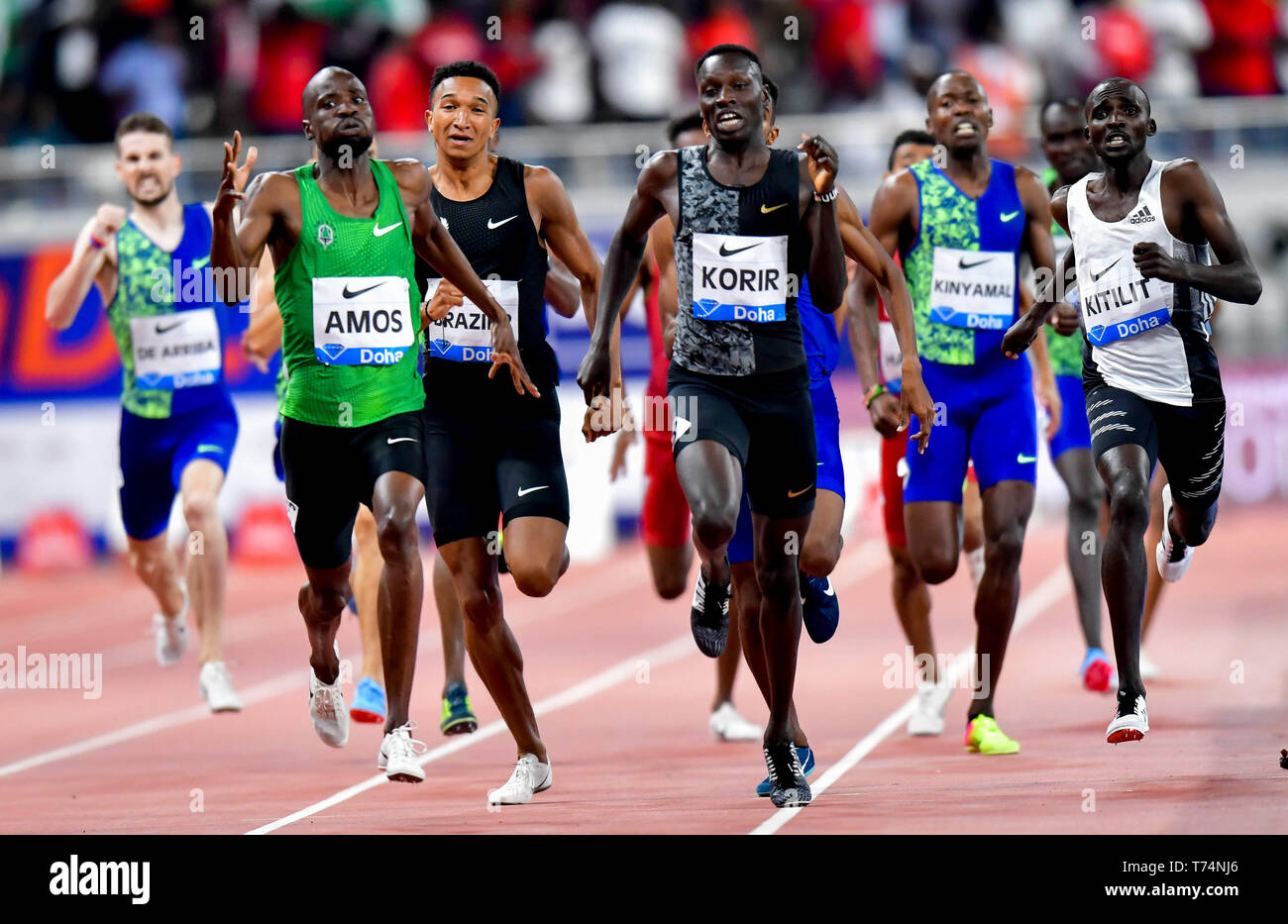 Doha, Qatar. 3rd May, 2019. Nijel Amos (L front) of Botswana competes during the men's 800m final at 2019 IAAF Diamond League at Khalifa International Stadium in Doha, Qatar, May 3, 2019. Nijel Amos won the gold medal with 1 minute and 44.29 seconds. Credit: Nikku/Xinhua/Alamy Live News - Stock Image