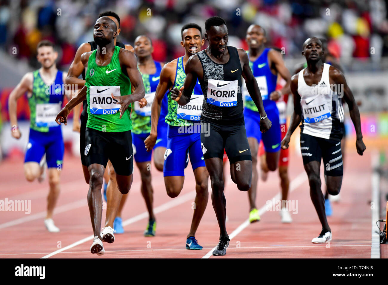 Doha, Qatar. 3rd May, 2019. Nijel Amos (L, front) of Botswana competes during the men's 800m final at 2019 IAAF Diamond League at Khalifa International Stadium in Doha, Qatar, May 3, 2019. Nijel Amos won the gold medal with 1 minute and 44.29 seconds. Credit: Nikku/Xinhua/Alamy Live News - Stock Image