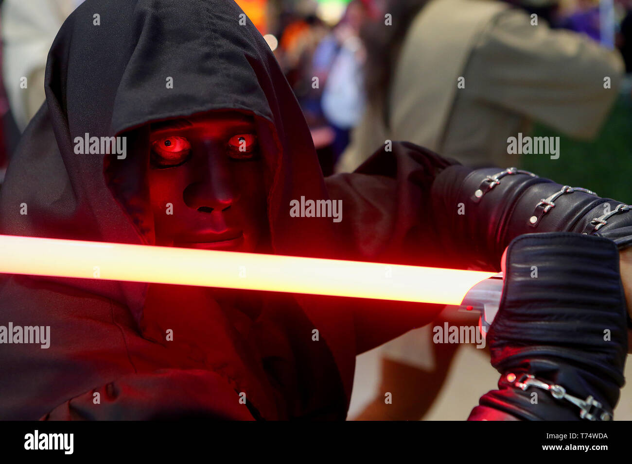 Taguig City, Philippines. 4th May, 2019. A fan dressed as a Star Wars character participates in the Star Wars Day in a mall in Taguig, the Philippines, May 4, 2019. The Star Wars Day is celebrated on May 4 every year by the fans of the sci-fi movie series in different parts of the world. Credit: ROUELLE UMALI/Xinhua/Alamy Live News - Stock Image