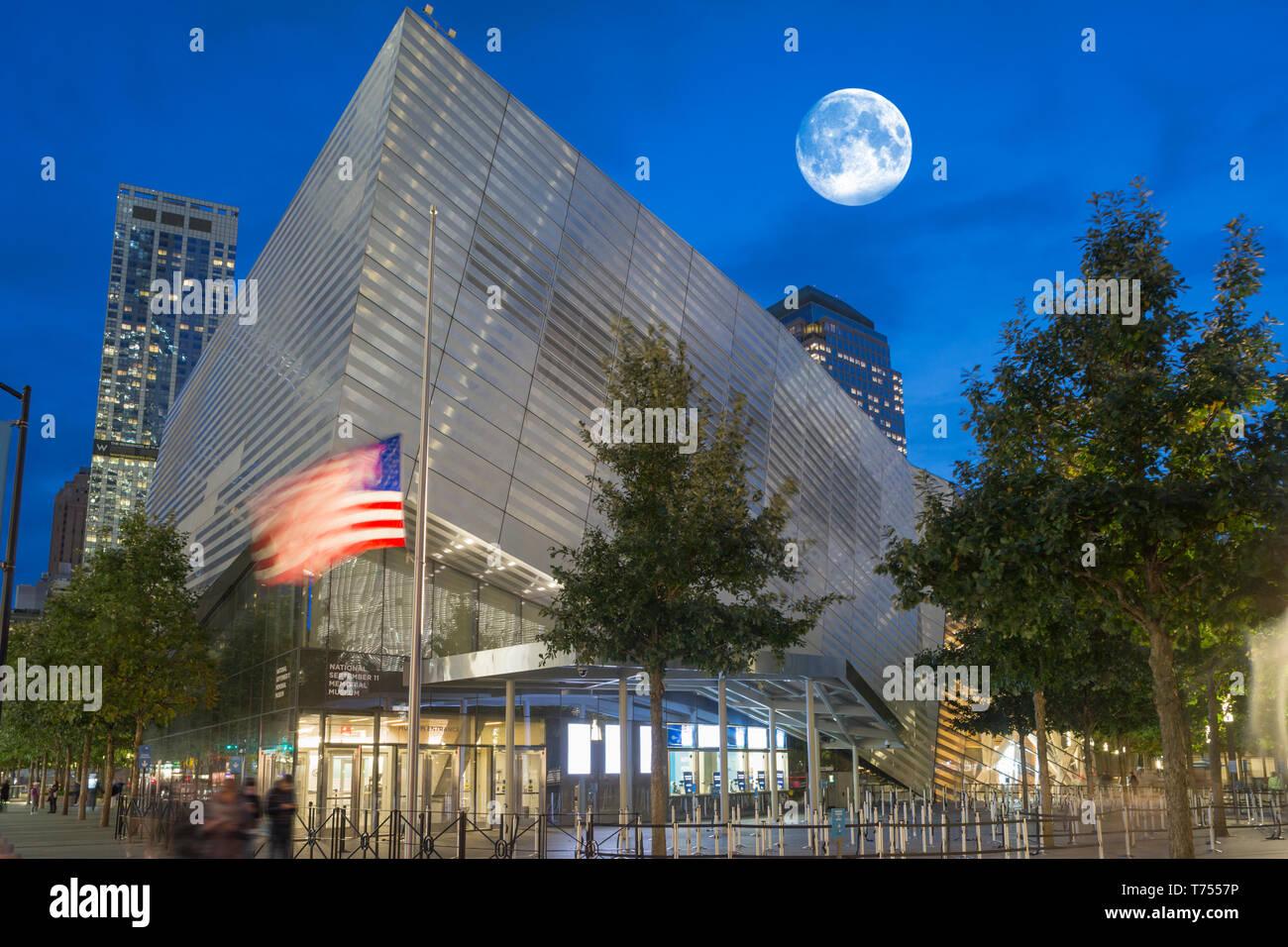 ENTRANCE PAVILION NATIONAL SEPTEMBER 11 MEMORIAL MUSEUM (©DAVIS BRODY BOND 2018 ) DOWNTOWN MANHATTAN NEW YORK CITY USA - Stock Image