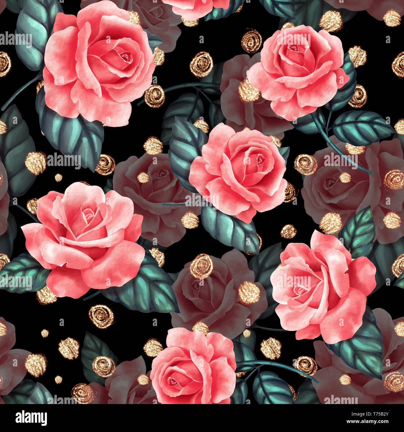 Seamless Floral Pattern With Red Roses On Black Background Stock
