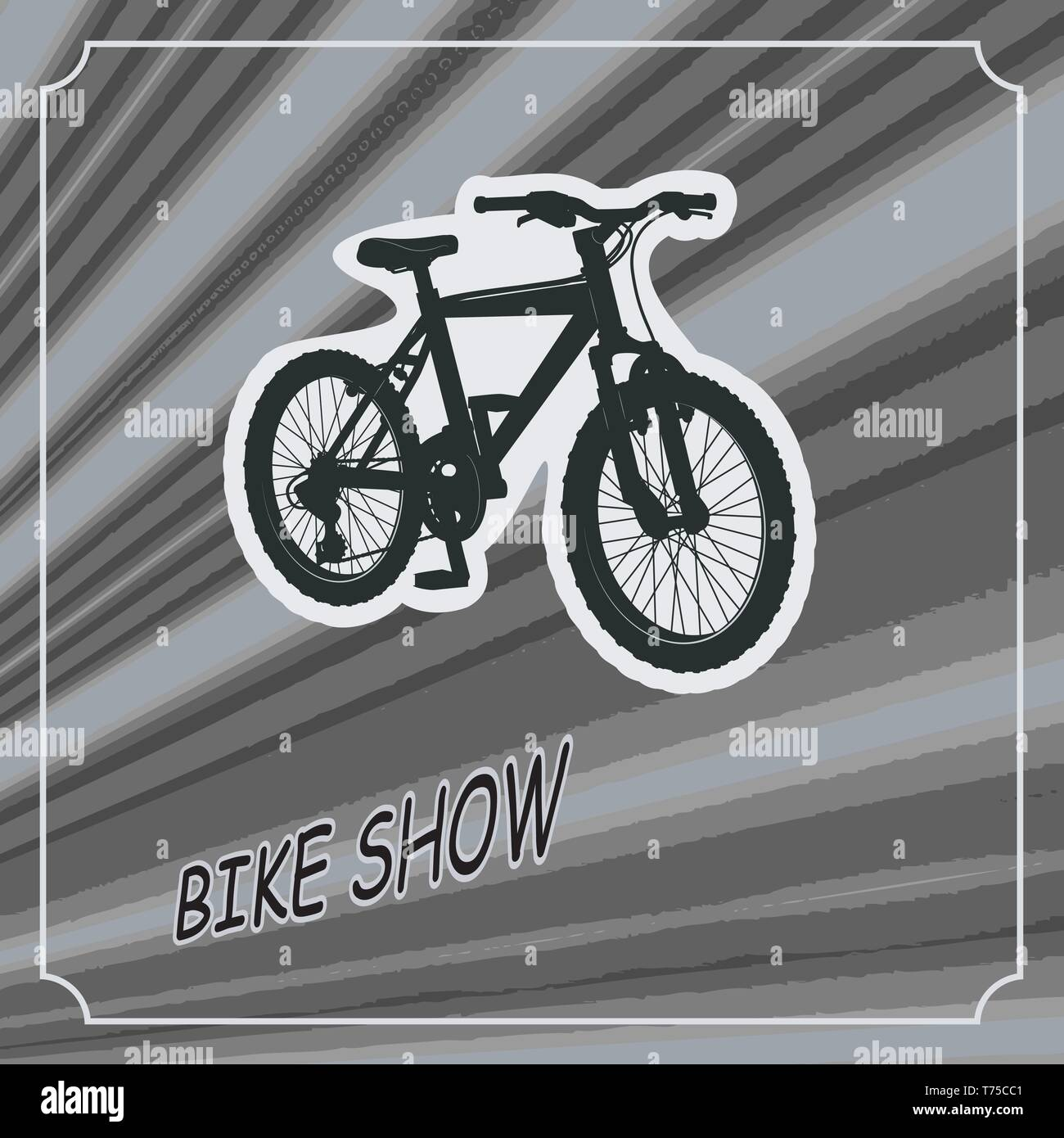 Modern mountain bike on the background of the rays. for exhibition design, store, sports. totally vector illustration - Stock Vector
