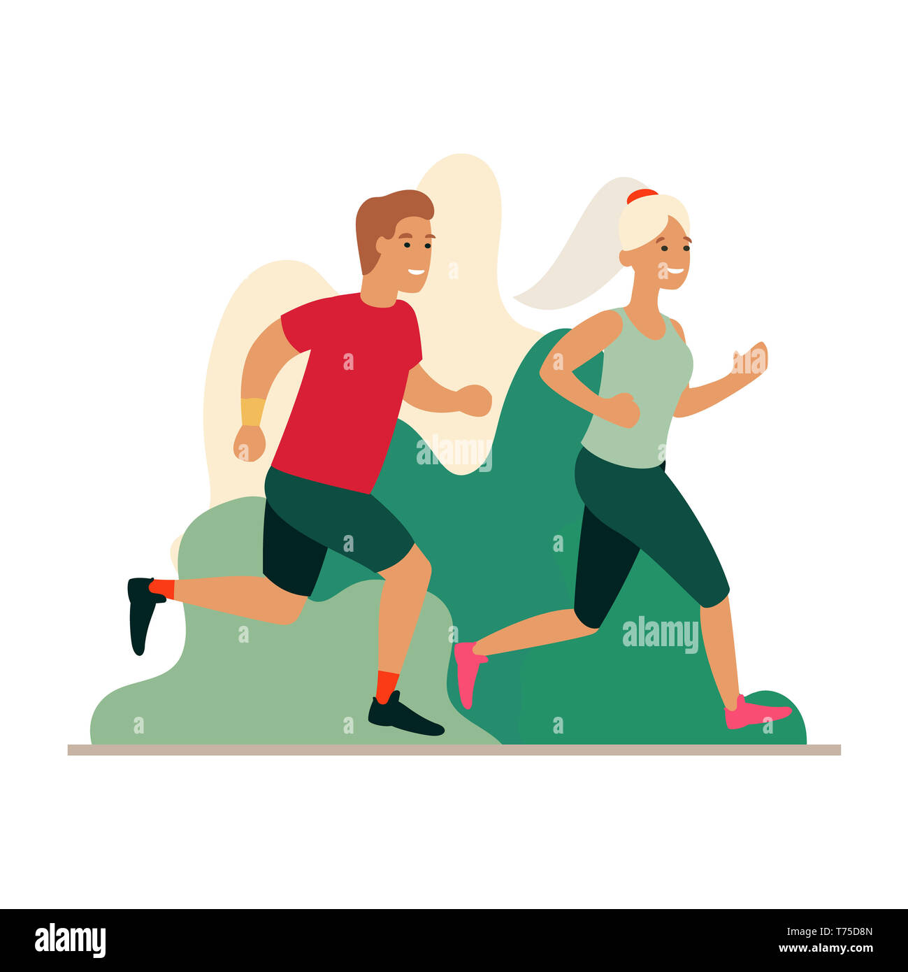 Man and woman running in the park. Couple jogging outdoors. Cartoon flat illustration. Run concept. - Stock Image
