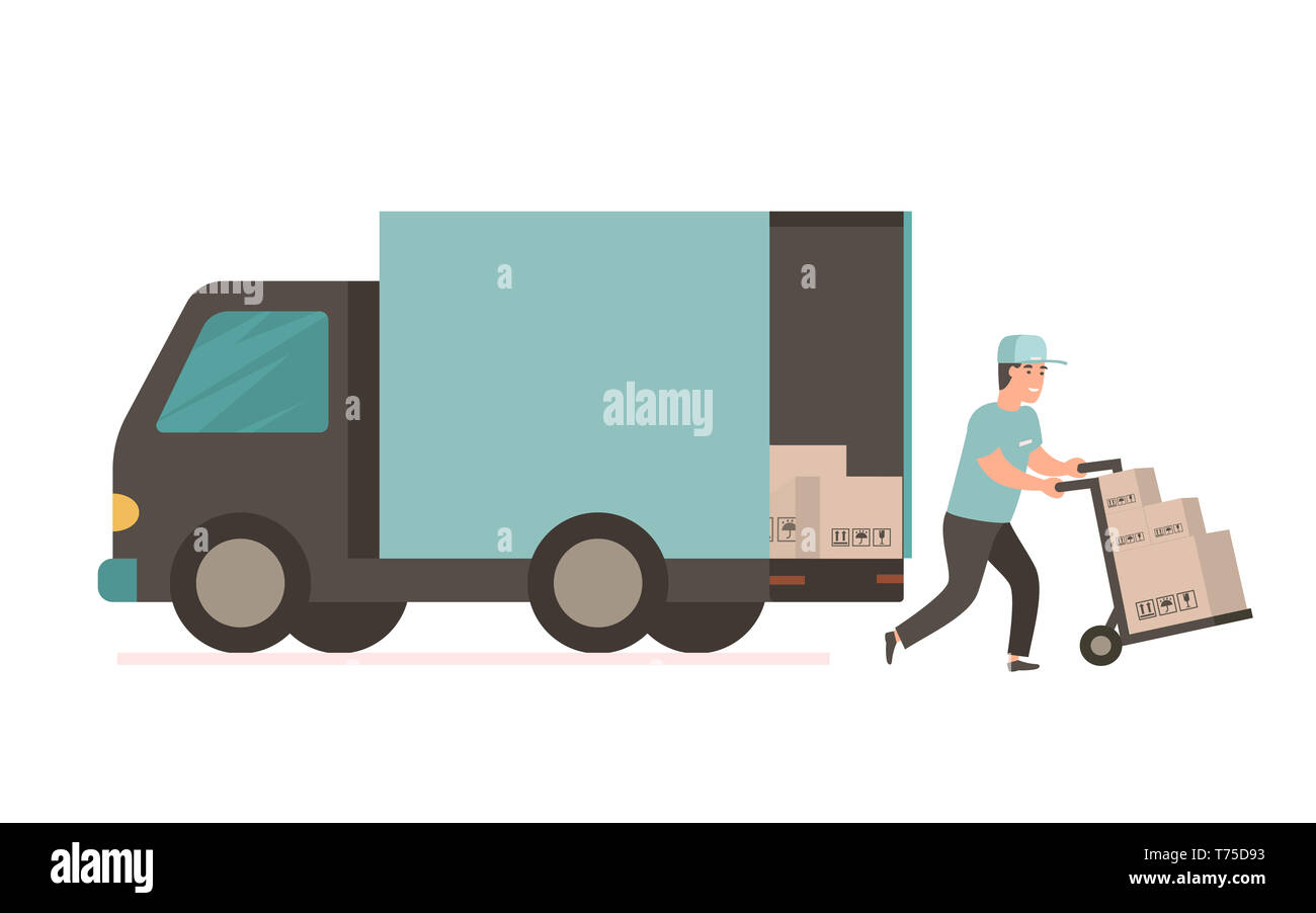 Courier provides free delivery of goods or postal parcels to the address. Man with cardboard boxes. illustration in flat style. Delivery service van - Stock Image