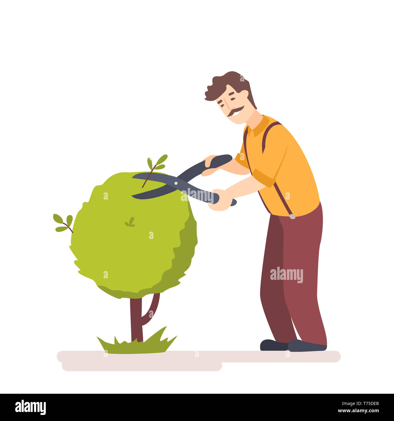 Gardener trim trees in garden. Worker cutting a hedge in park. Pruning shears for cutting tree. Flat illustration - Stock Image