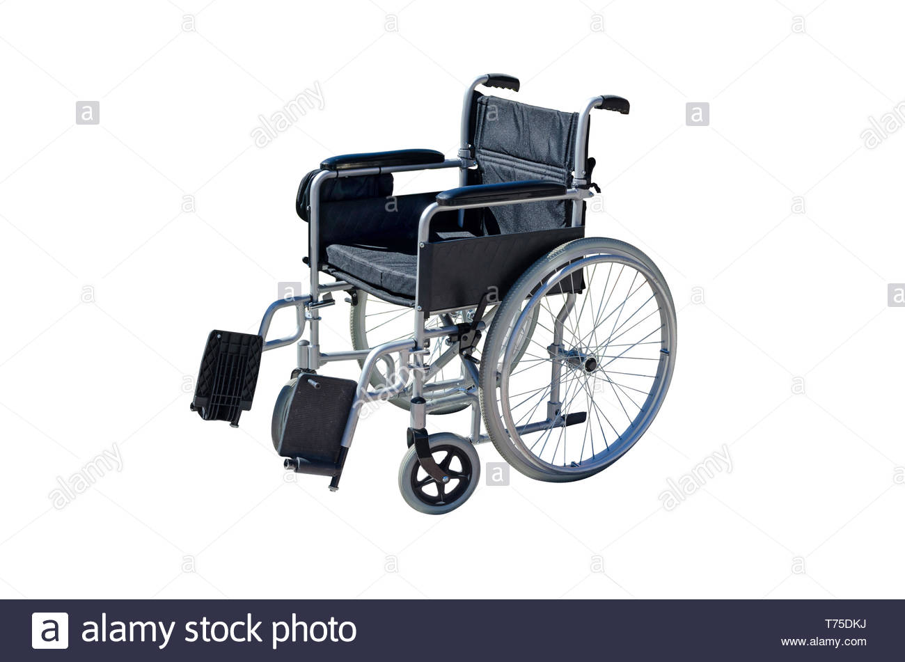 wheelchair isolated over white. Individual transport for handicapped people - Stock Image