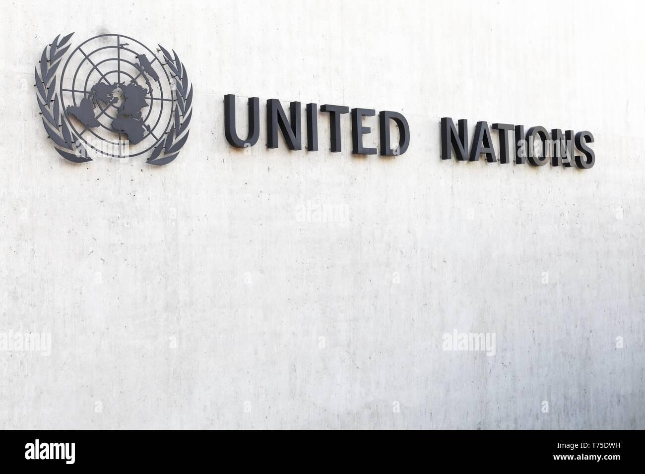 Geneva, Switzerland - October 1, 2017: United Nations symbol on a wall in Geneva, Switzerland - Stock Image