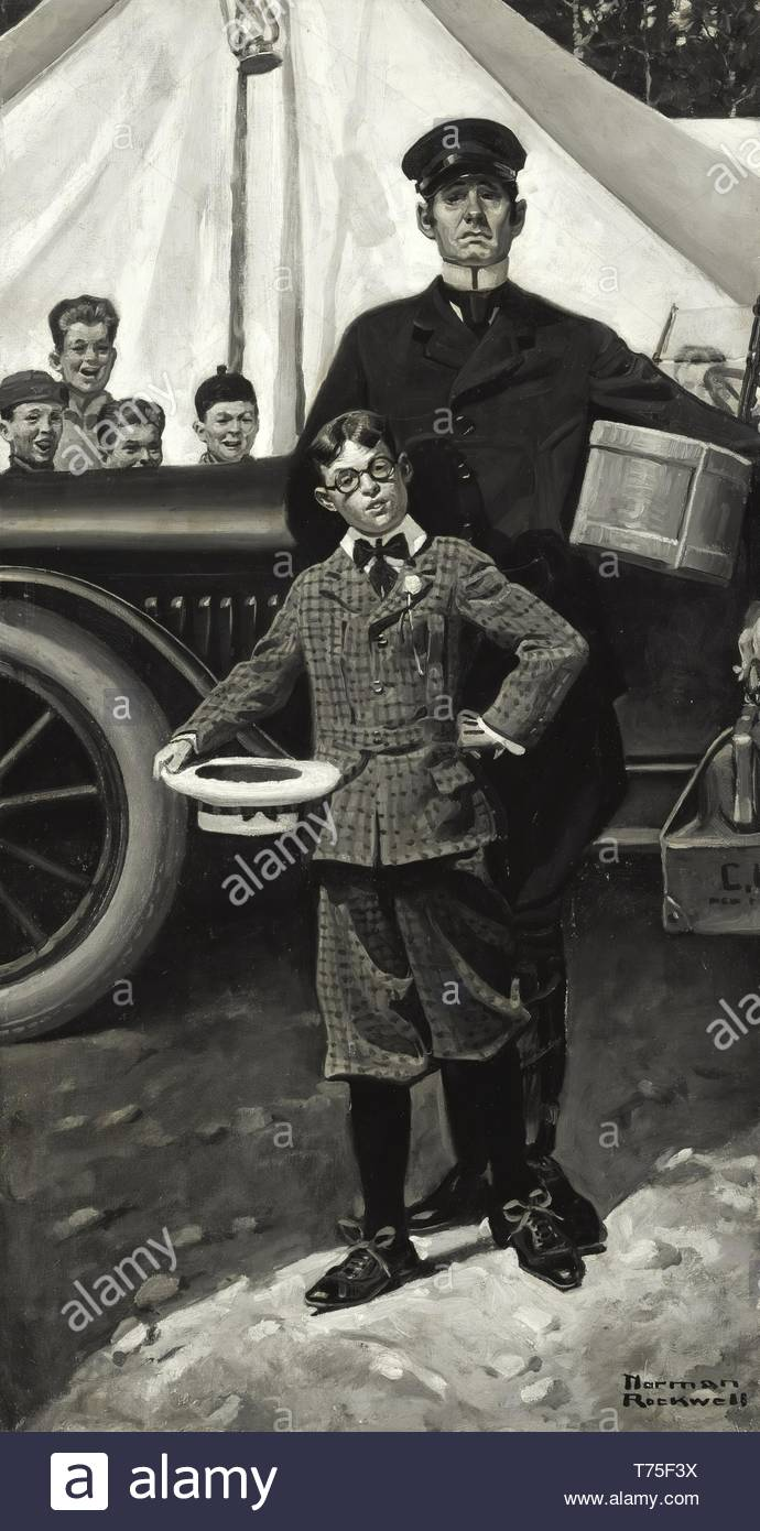 Norman Rockwell-Making Good In A Boys' Camp ('Percy Arrived In Camp The Most Dressed-Up Lad You Ever Saw) - Stock Image