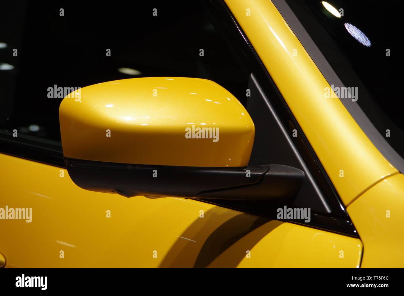 Modern yellow car body details - Stock Image