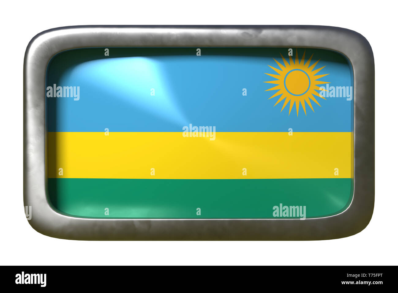 3d rendering of a Rwanda flag on a rusty sign isolated on white background - Stock Image