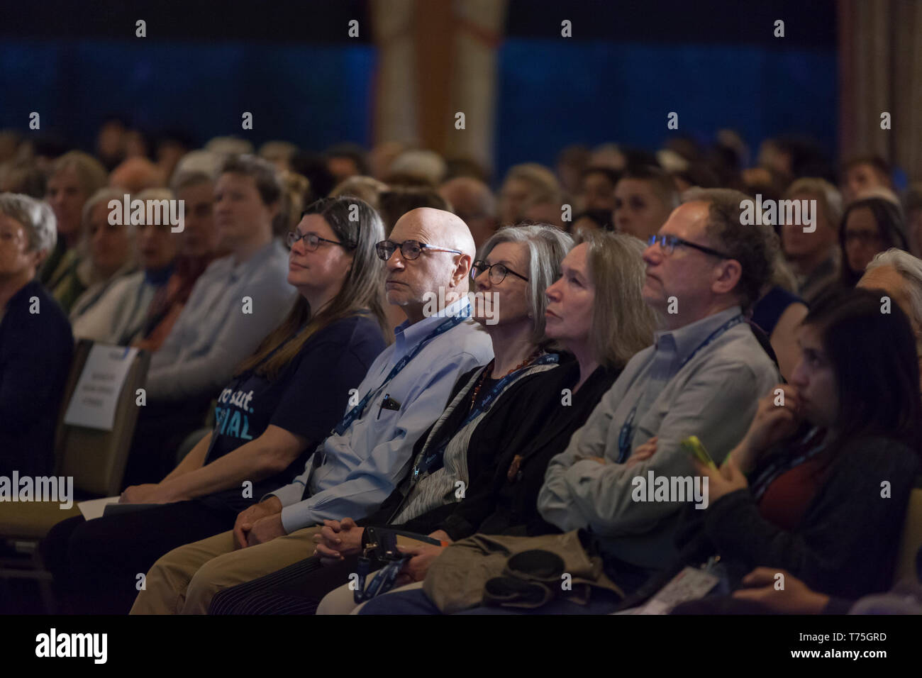 Seattle, Washington: Supporters gathered to see Janet Napolitano at the Crosscut Festival's keynote. Atlas Obscura's David Plotz moderated the discuss - Stock Image