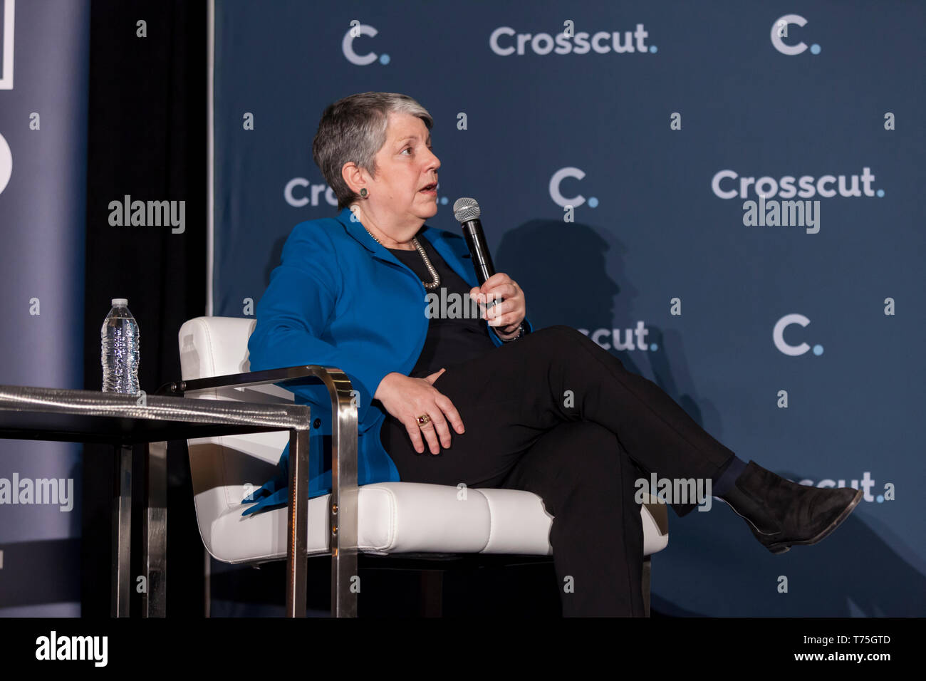 Seattle, Washington: Janet Napolitano at the Crosscut Festival's keynote address. Atlas Obscura's David Plotz moderated the discussion with the former - Stock Image