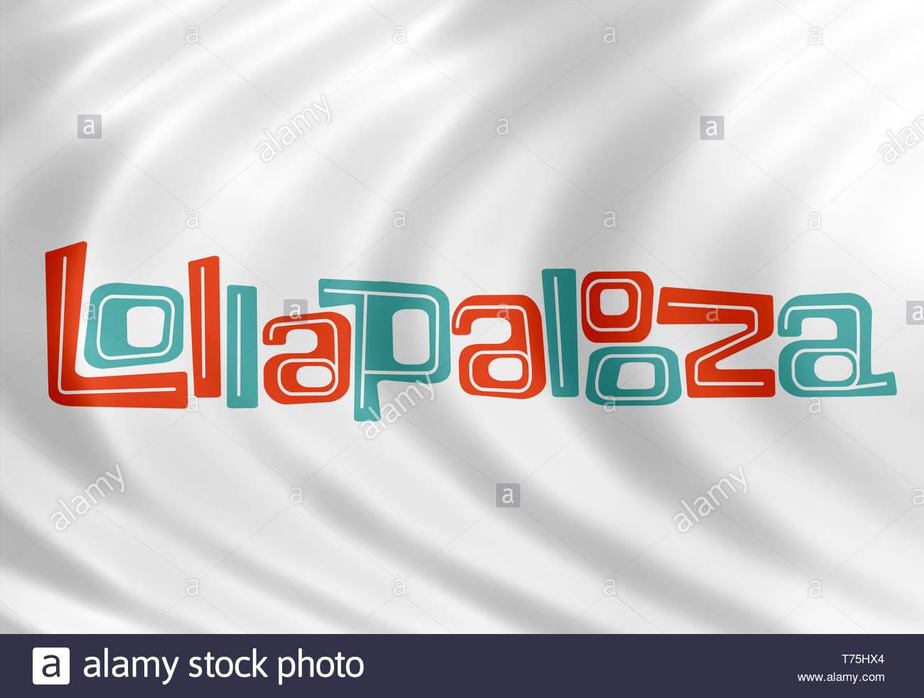 Lollapalooza music festival flag sign - Stock Image