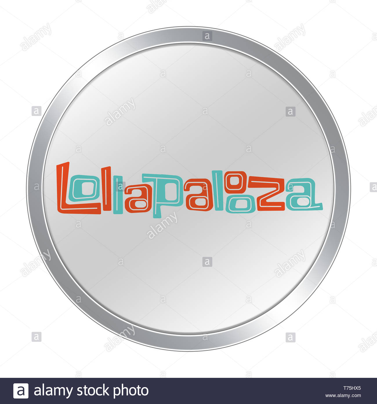 Lollapalooza music festival in Chicago button - Stock Image