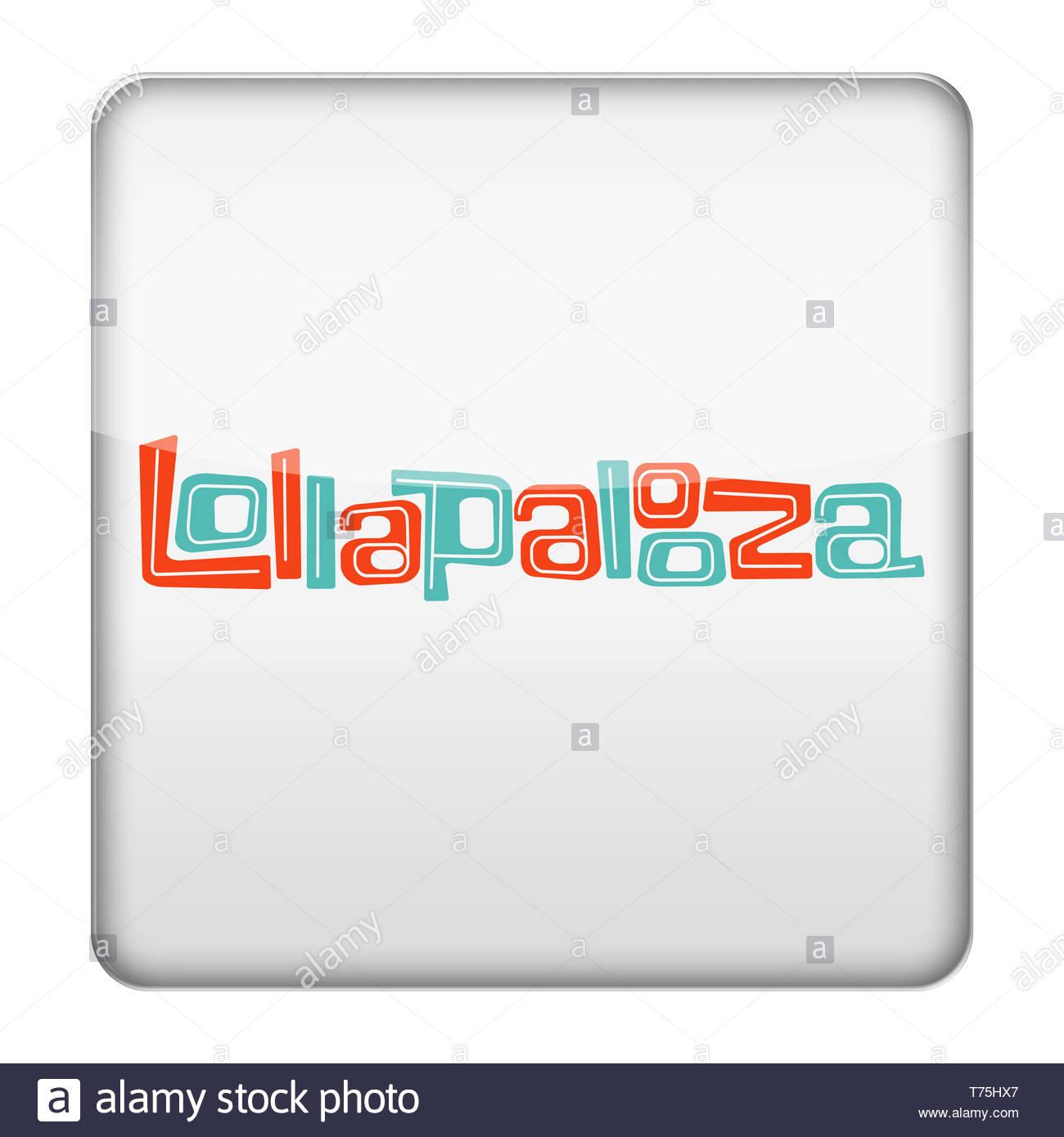 Lollapalooza music festival logo - Stock Image