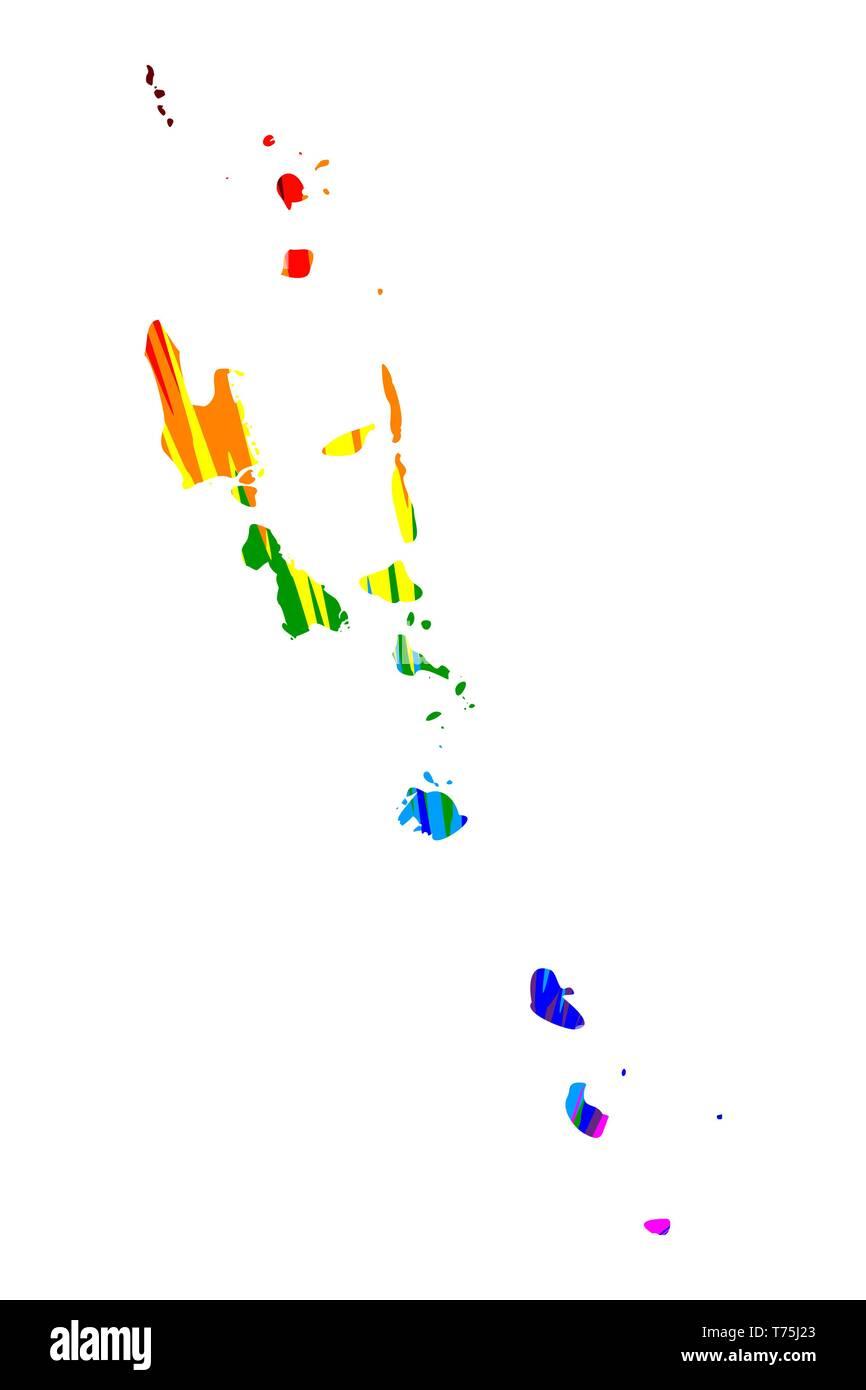 Vanuatu - map is designed rainbow abstract colorful pattern, Republic of Vanuatu (New Hebrides Condominium) map made of color explosion, - Stock Vector