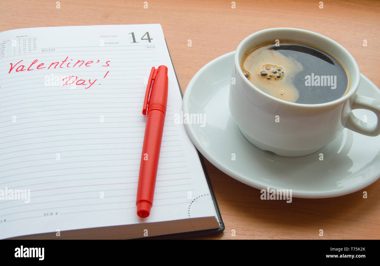 The concept of celebrating Valentine's Day, Cup of coffee, diaries - Stock Image