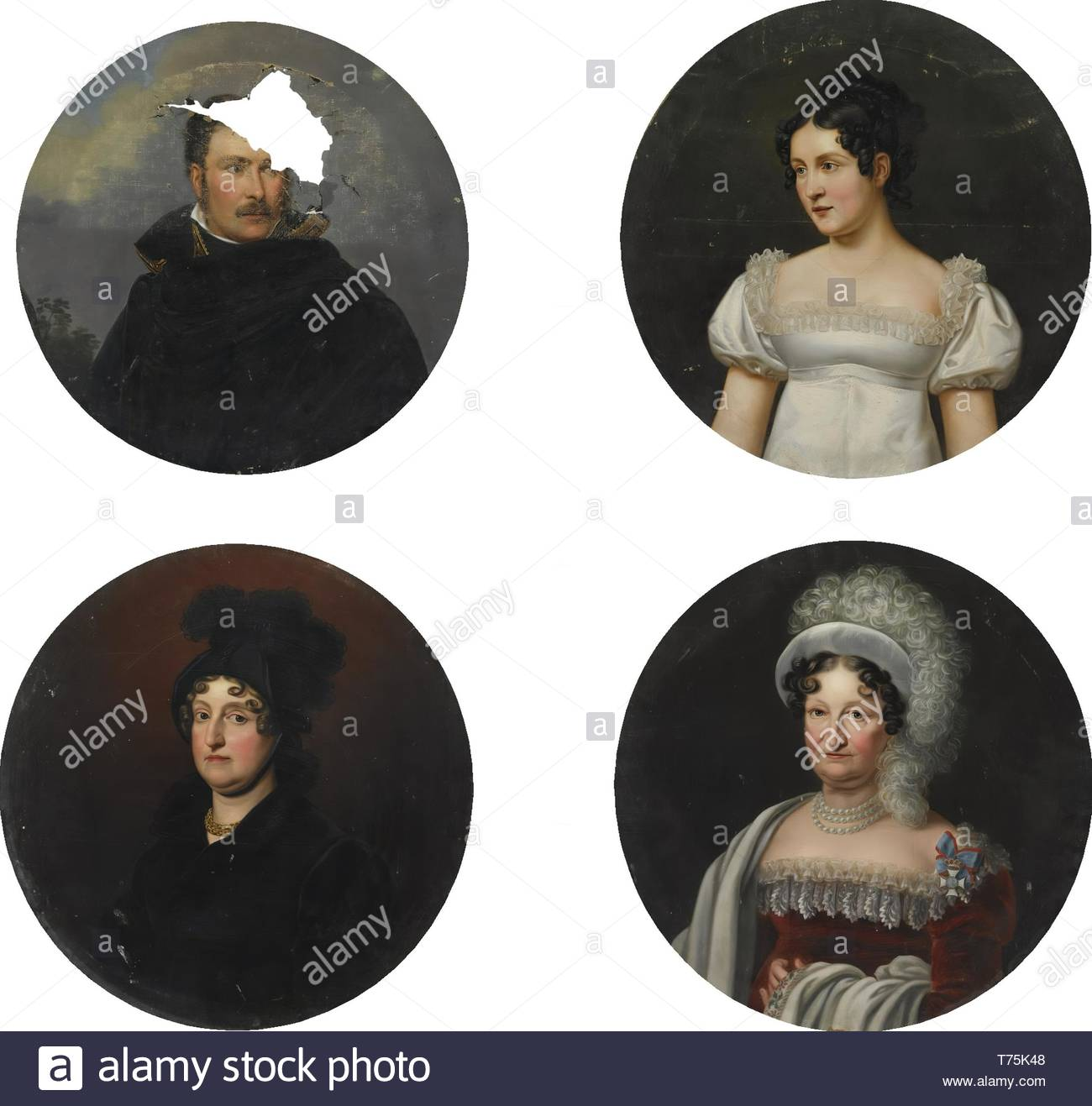 Munich School-FourPortraits Of Members Of The Bavarian Royal Family - Stock Image