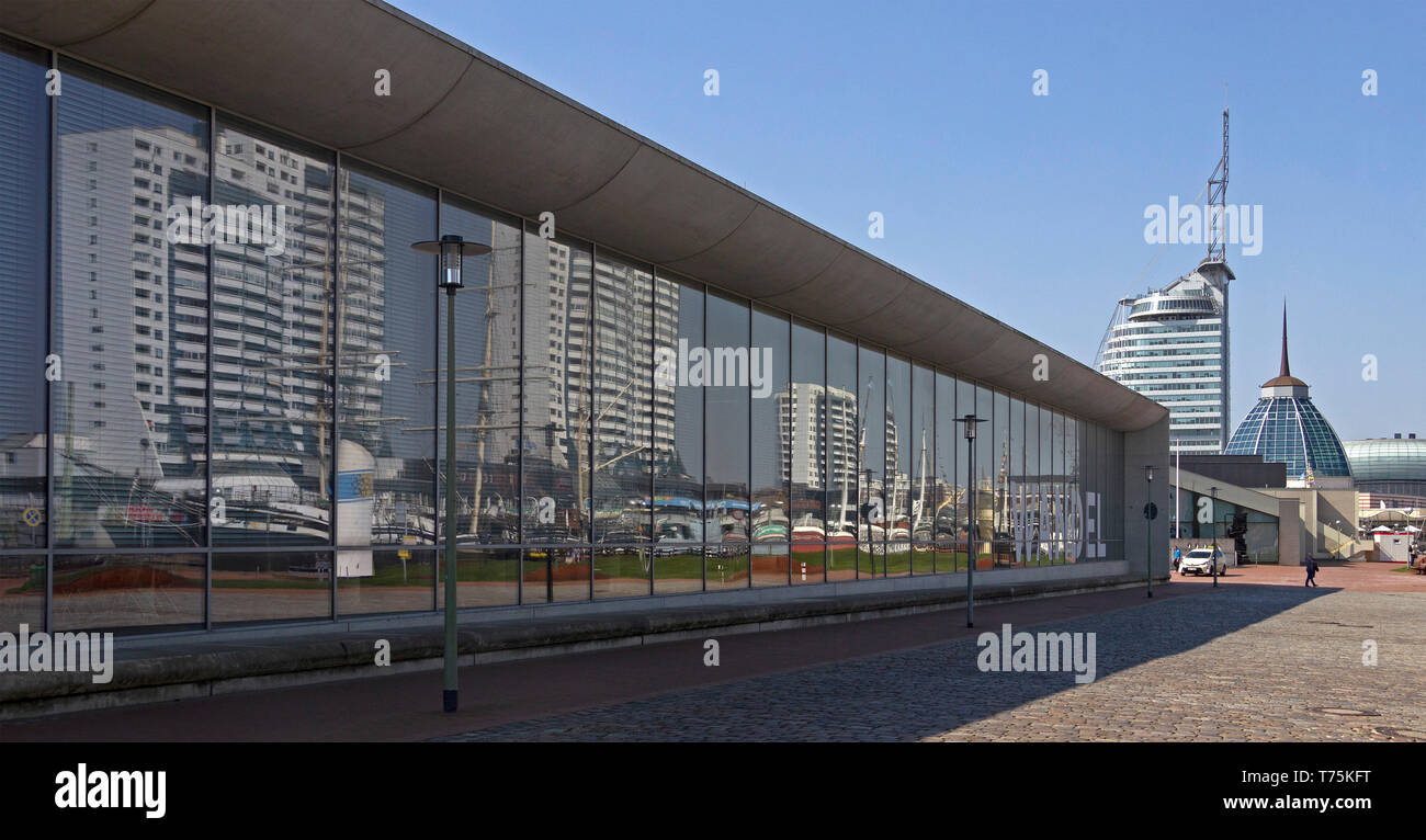 Havenwelten and miror image of Columbus Center at the wall of the Maritime Museum, Bremerhaven, Bremen, Germany Stock Photo
