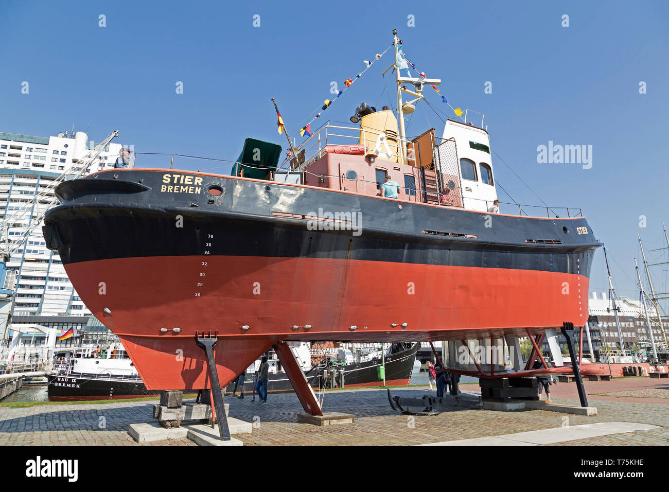 tugboat Stier at the museum-harbour, Bremerhaven, Bremen, Germany Stock Photo