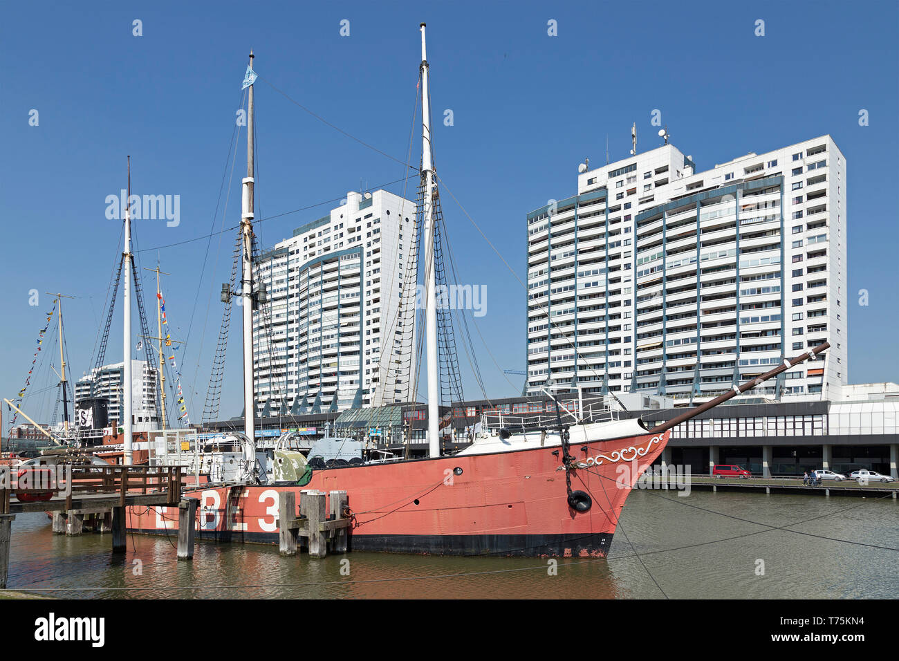 fire ship Elbe 3, museum-harbour and Columbus Center, Bremerhaven, Bremen, Germany Stock Photo