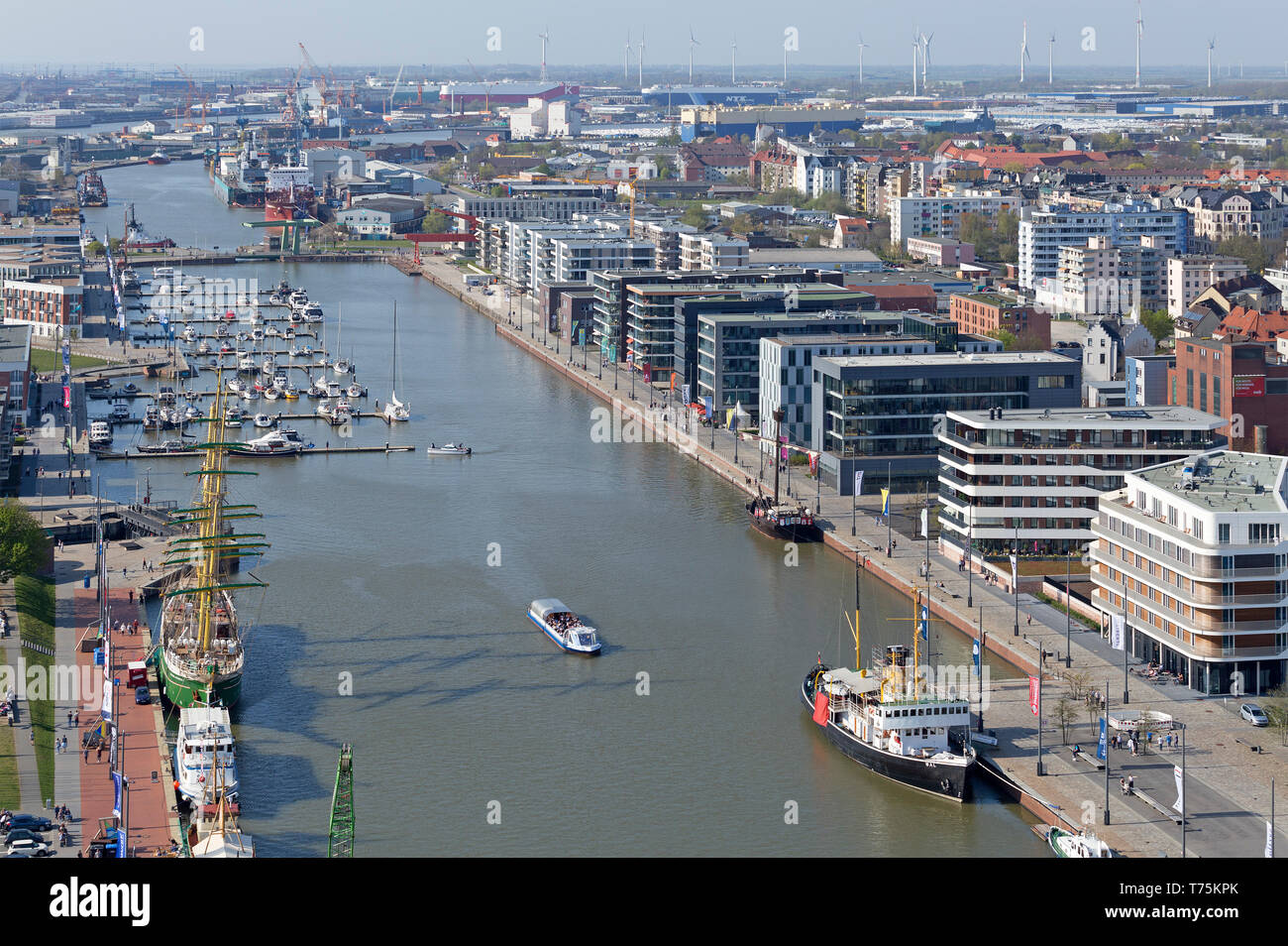 view of New Harbour from the viewing platform of ATLANTIC Hotel Sail City, Bremerhaven, Bremen, Germany - Stock Image