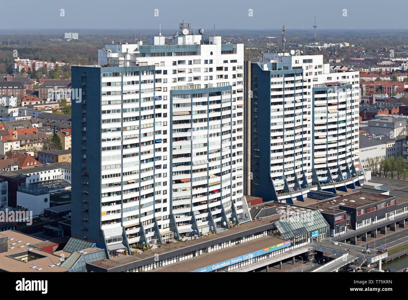 view of Columbus Center from the viewing platform of ATLANTIC Hotel Sail City, Bremerhaven, Bremen, Germany - Stock Image