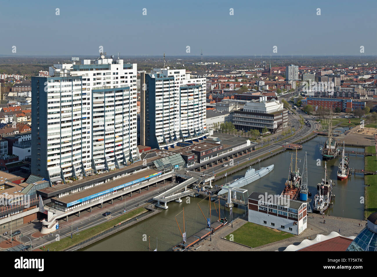 view of Columbus Center and Old Harbour from the viewing platform of ATLANTIC Hotel Sail City, Bremerhaven, Bremen, Germany - Stock Image